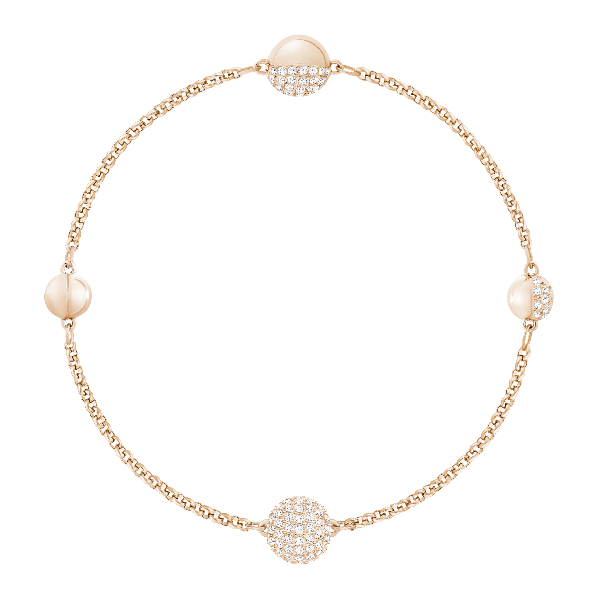 Swarovski Remix Collection The Round Strand, White, Rose-gold plated