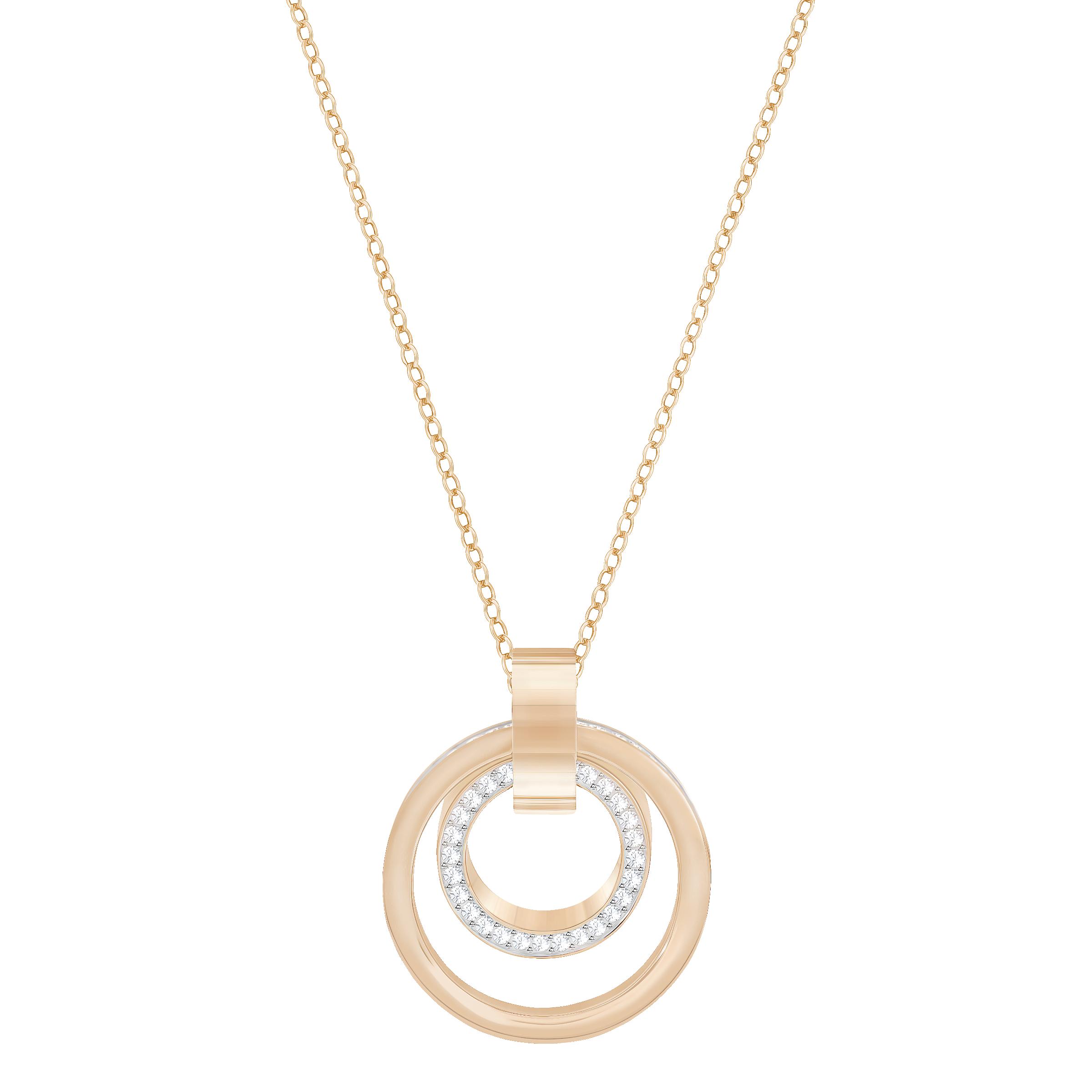 Hollow Pendant, Medium, White, Rose Gold Plated