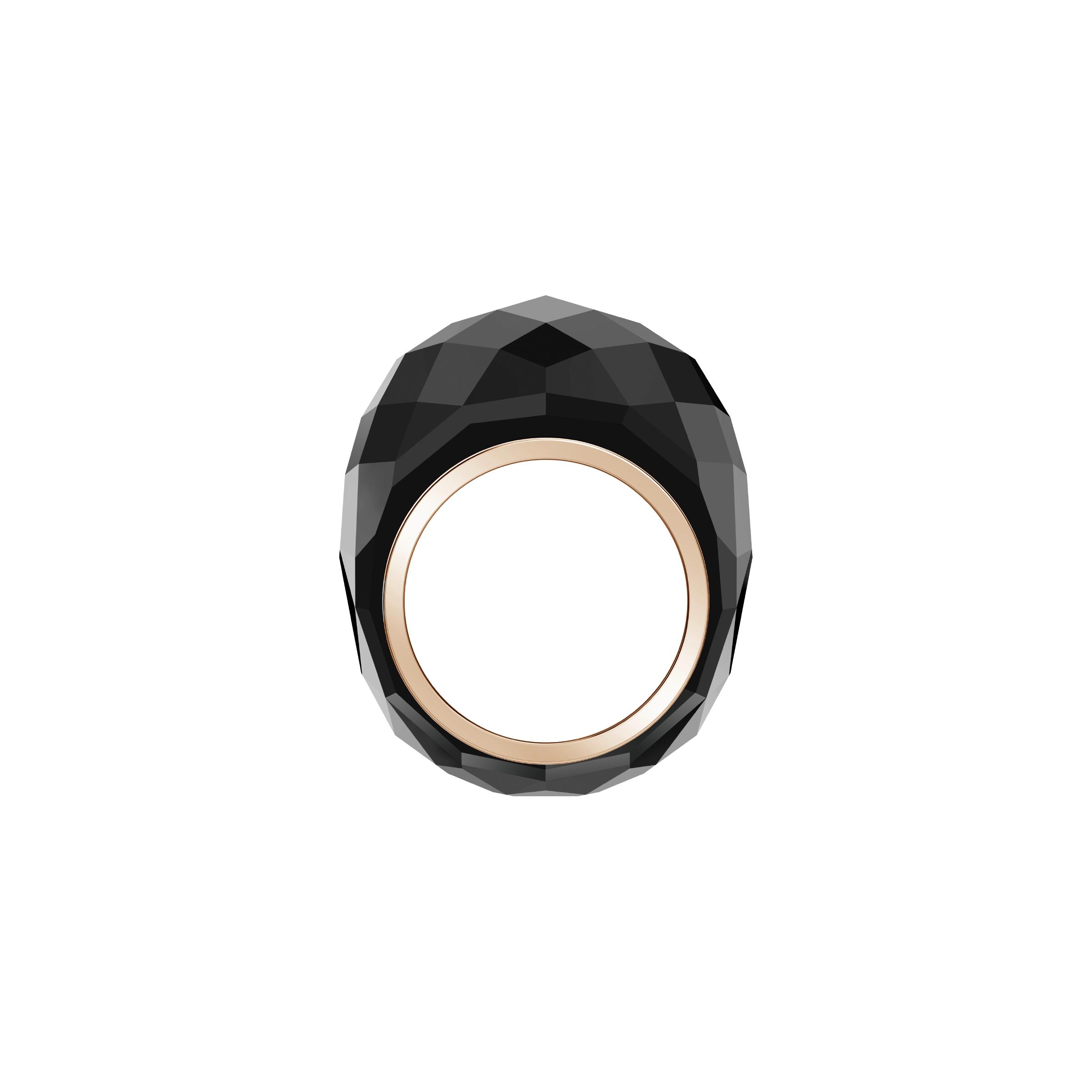Nirvana Ring, Black, Rose-gold tone PVD