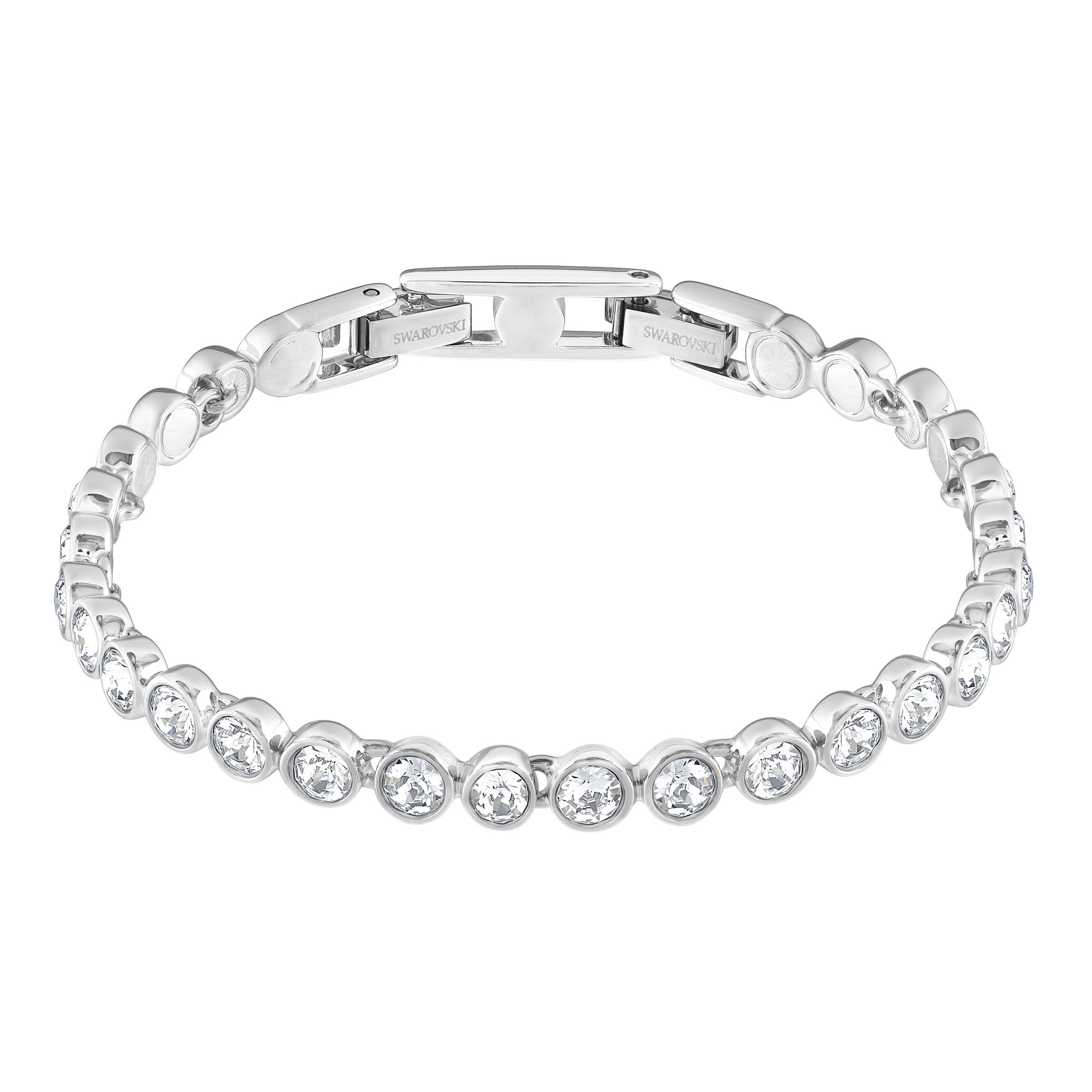 Tennis Bracelet, White, Rhodium Plated