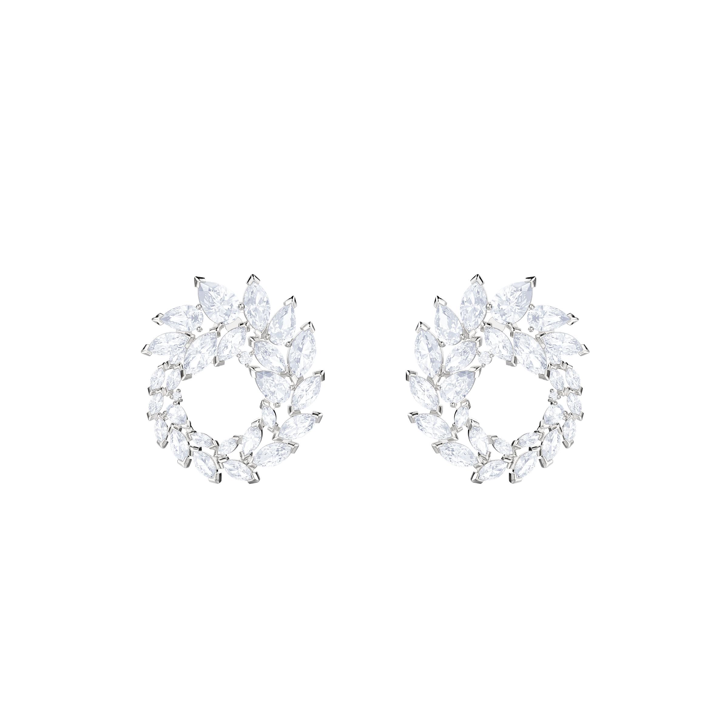 Louison Hoop Pierced Earrings, White, Rhodium Plating