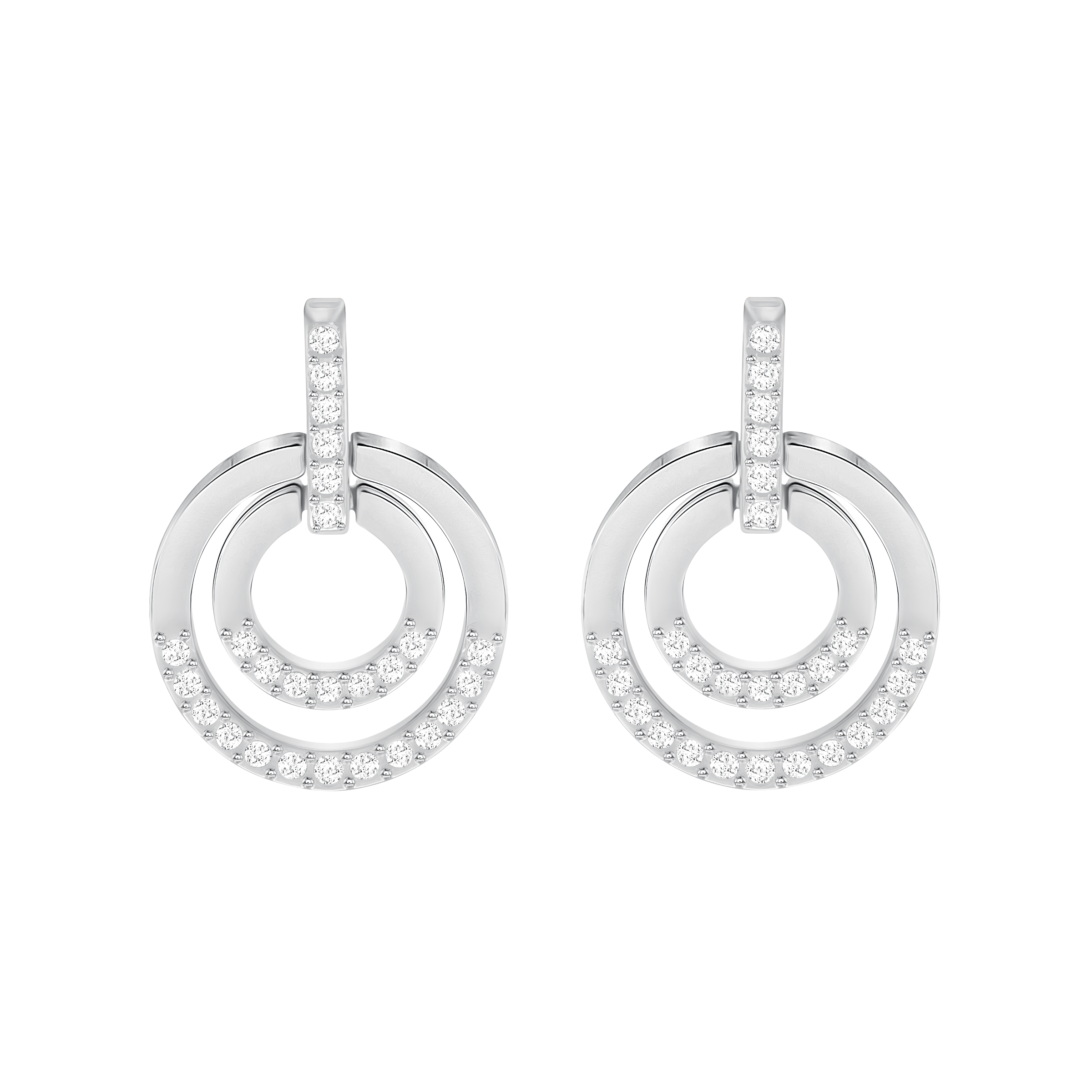 Circle Pierced Earrings, Medium, White, Rhodium Plated
