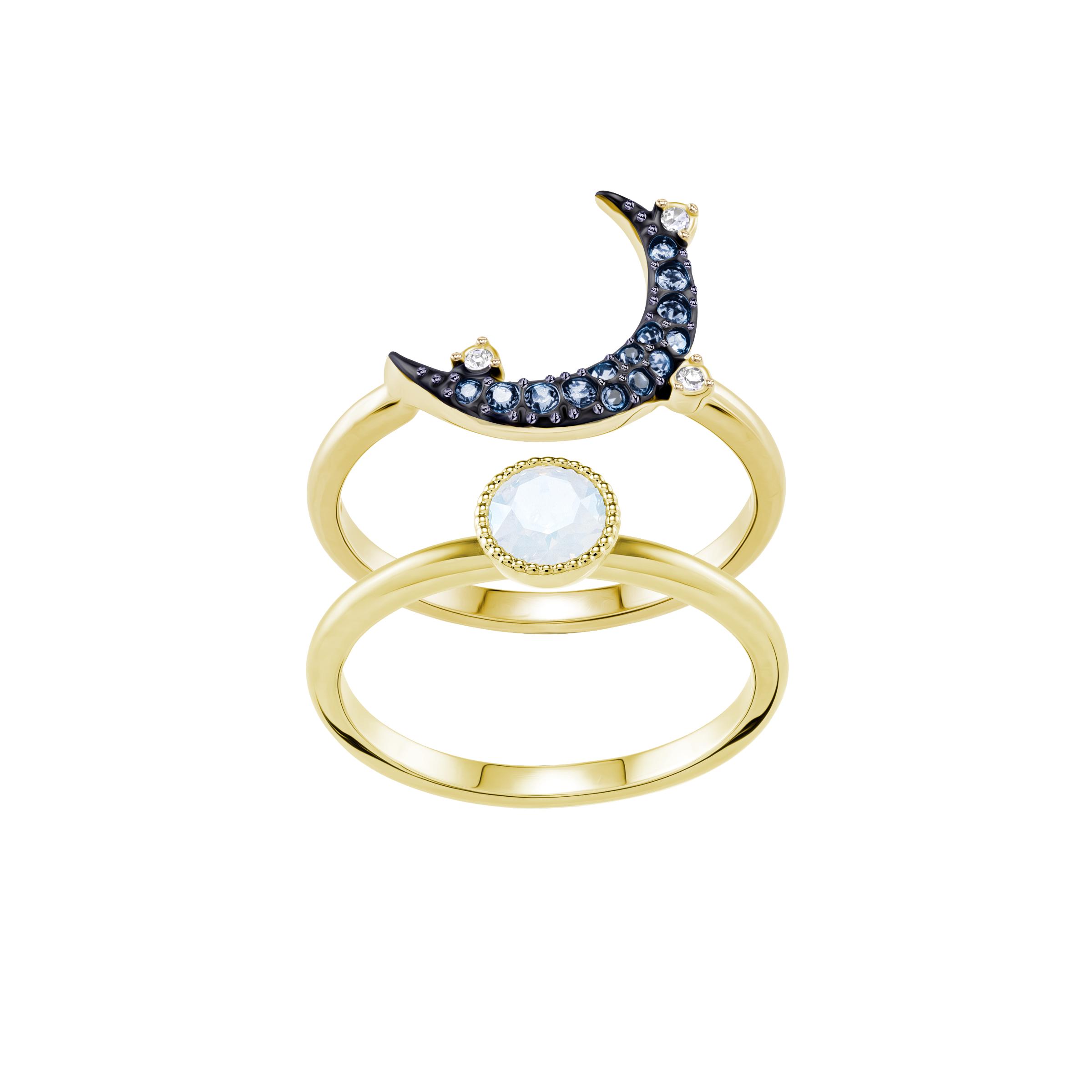 Duo Moon Ring, Teal, Mixed Plating
