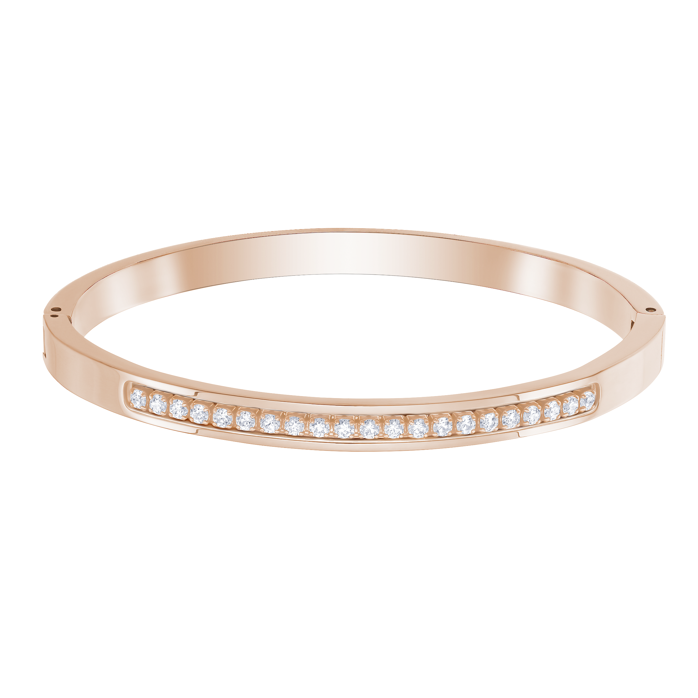 Further Bangle, White, Rose-gold tone plated