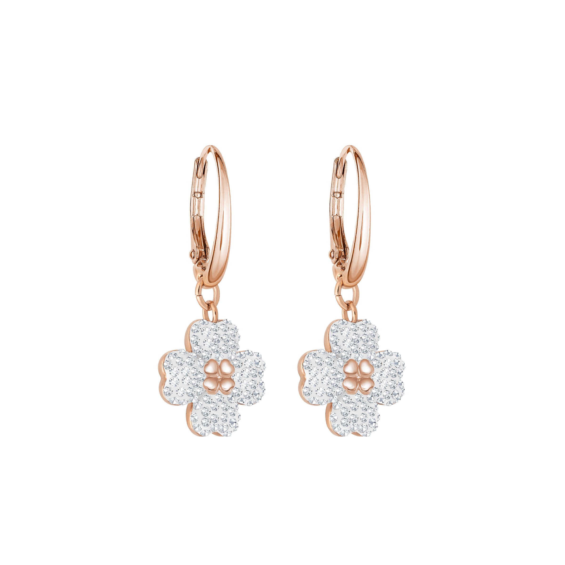 Latisha Pierced Earrings, White, Rose Gold Plating