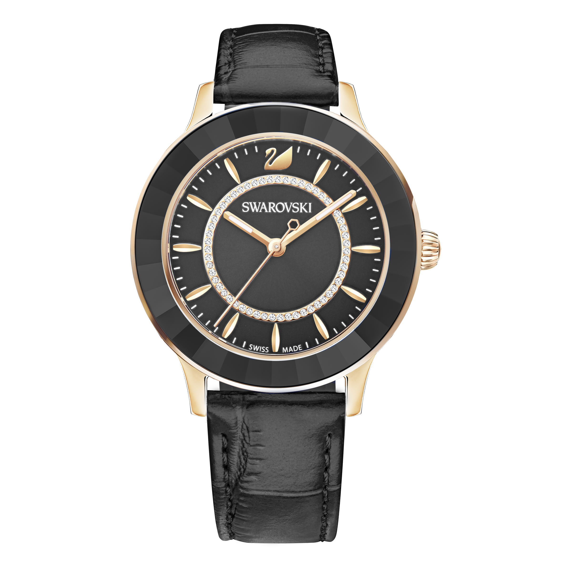 Octea Lux Watch, Leather Strap, Black, Rose Gold Tone