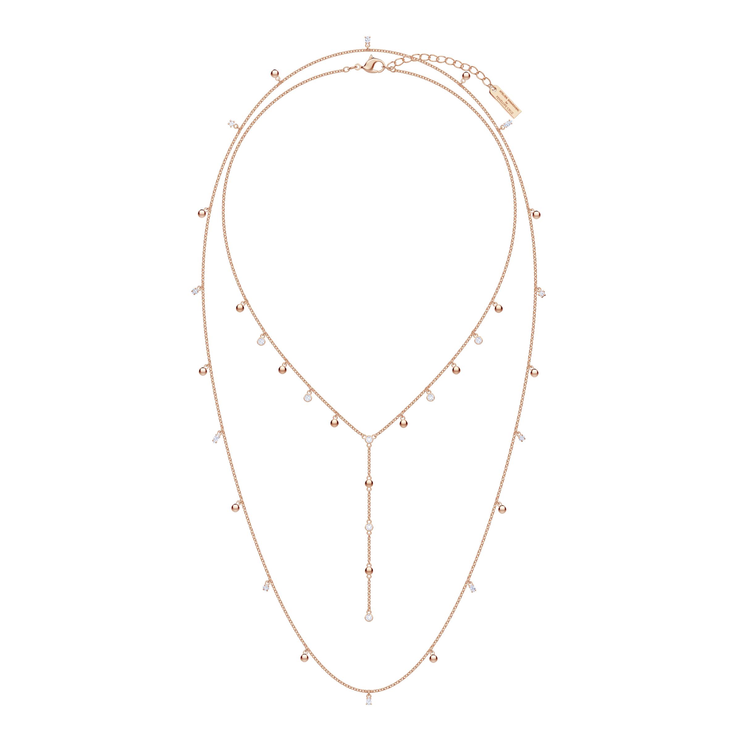 Penélope Cruz Moonsun Long Necklace, White, Rose gold plating