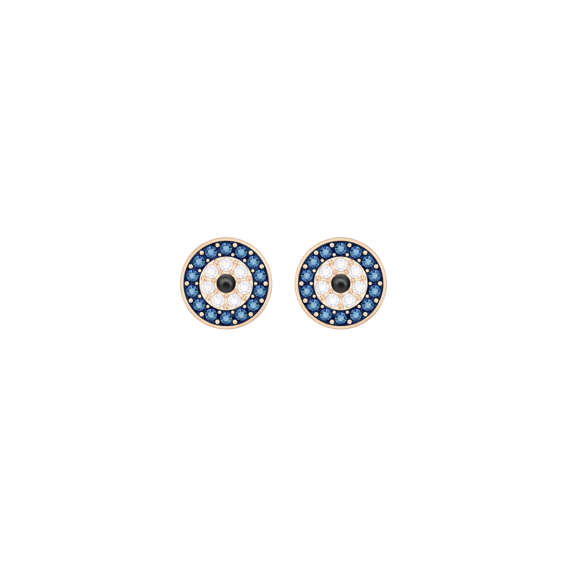 Crystal Wishes Evil Eye Pierced Earrings, Multi-Colored, Rose Gold Plating