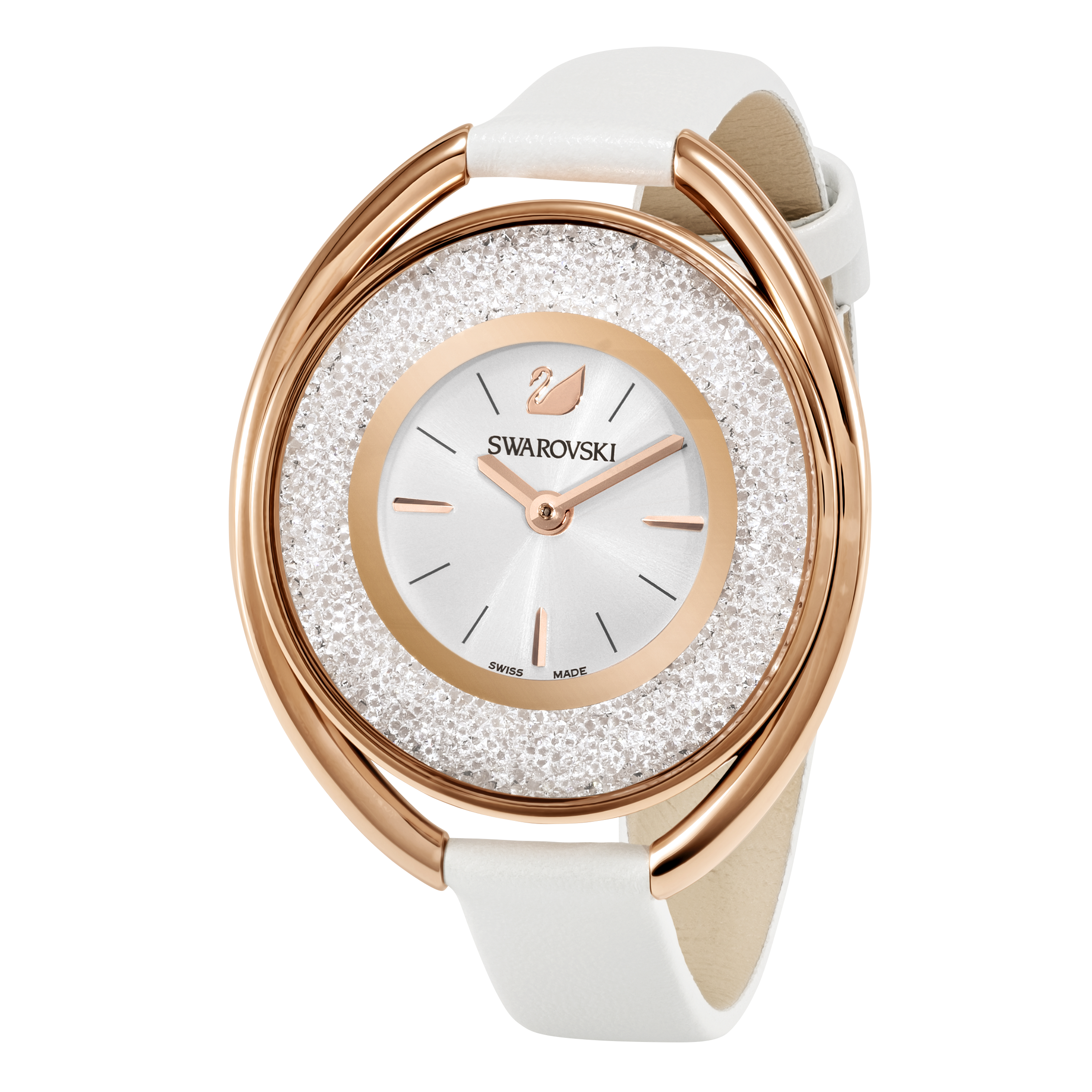 Crystalline  Oval Watch, White, Rose Gold Tone