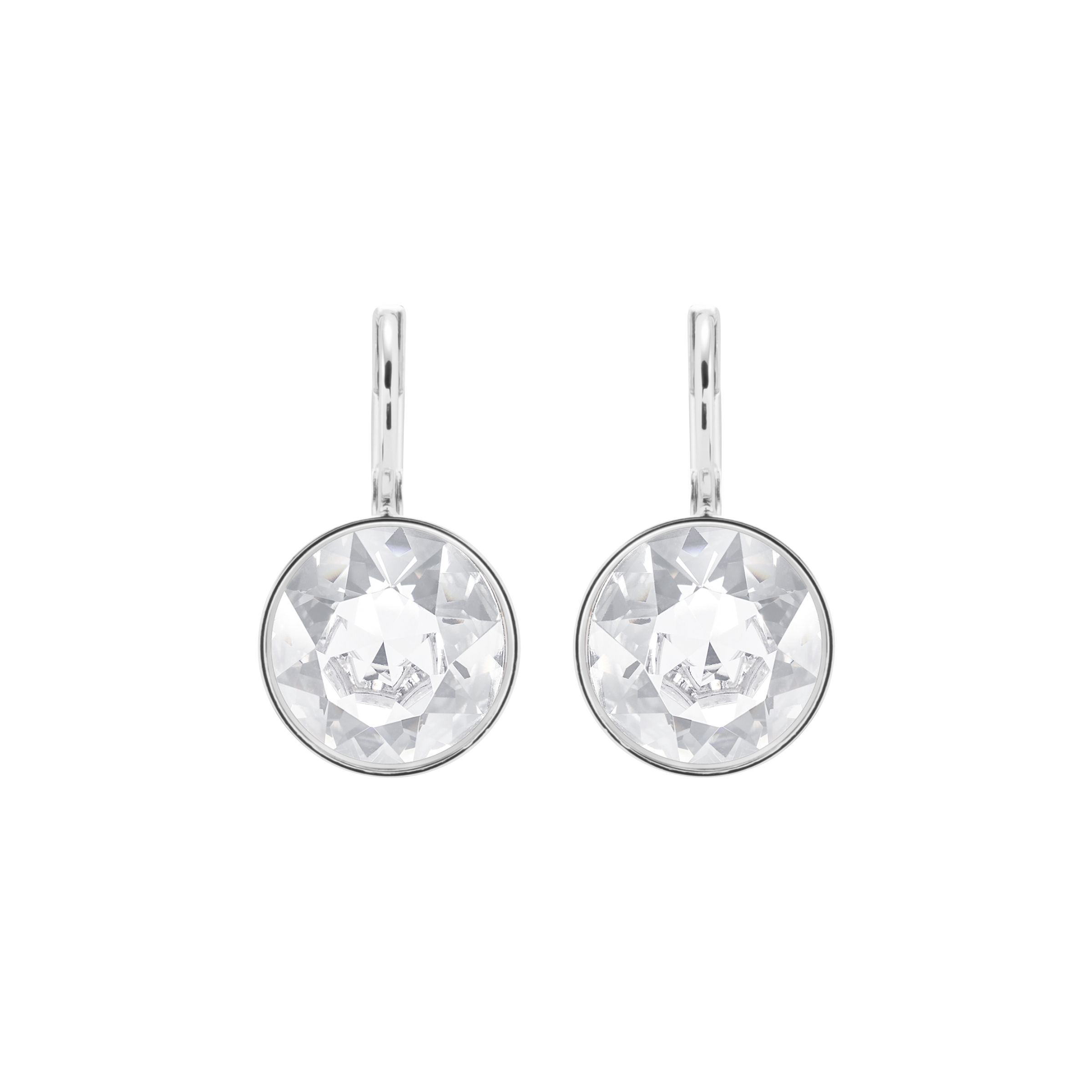 Bella Mini Pierced Earrings, White, Rhodium Plated