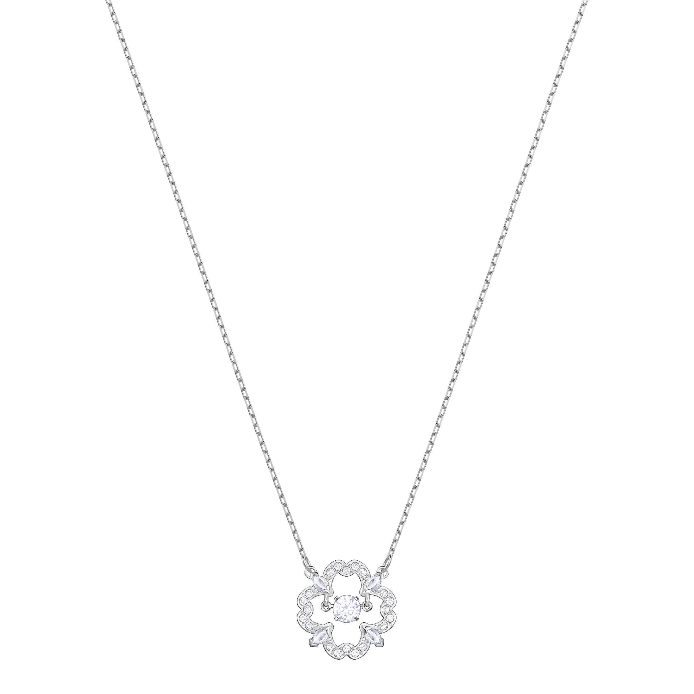 Sparkling Dance Flower Necklace, White, Rhodium Plating