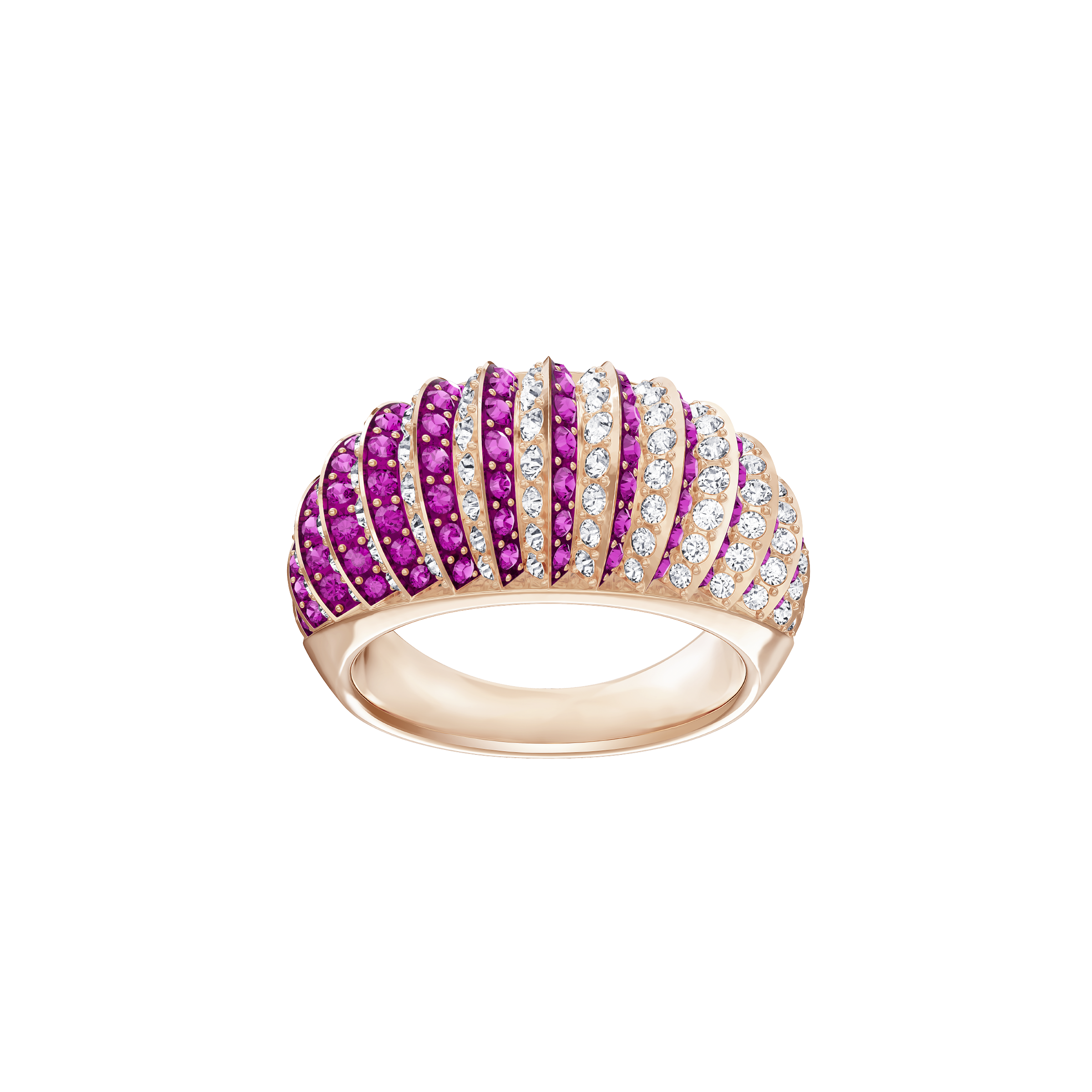 Luxury Domed Ring, Pink, Rose Gold Plating