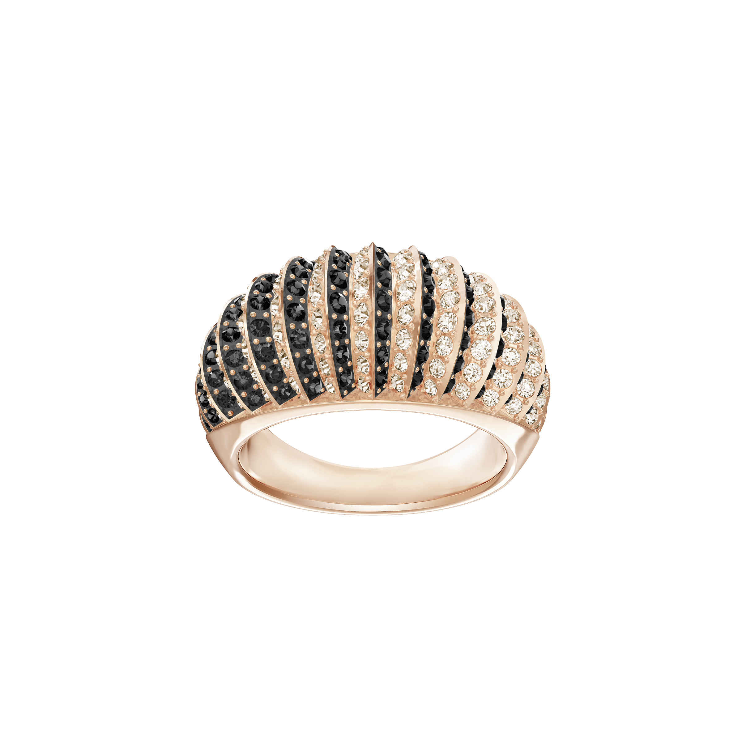 Luxury Domed Ring, Black, Rose-gold tone plated
