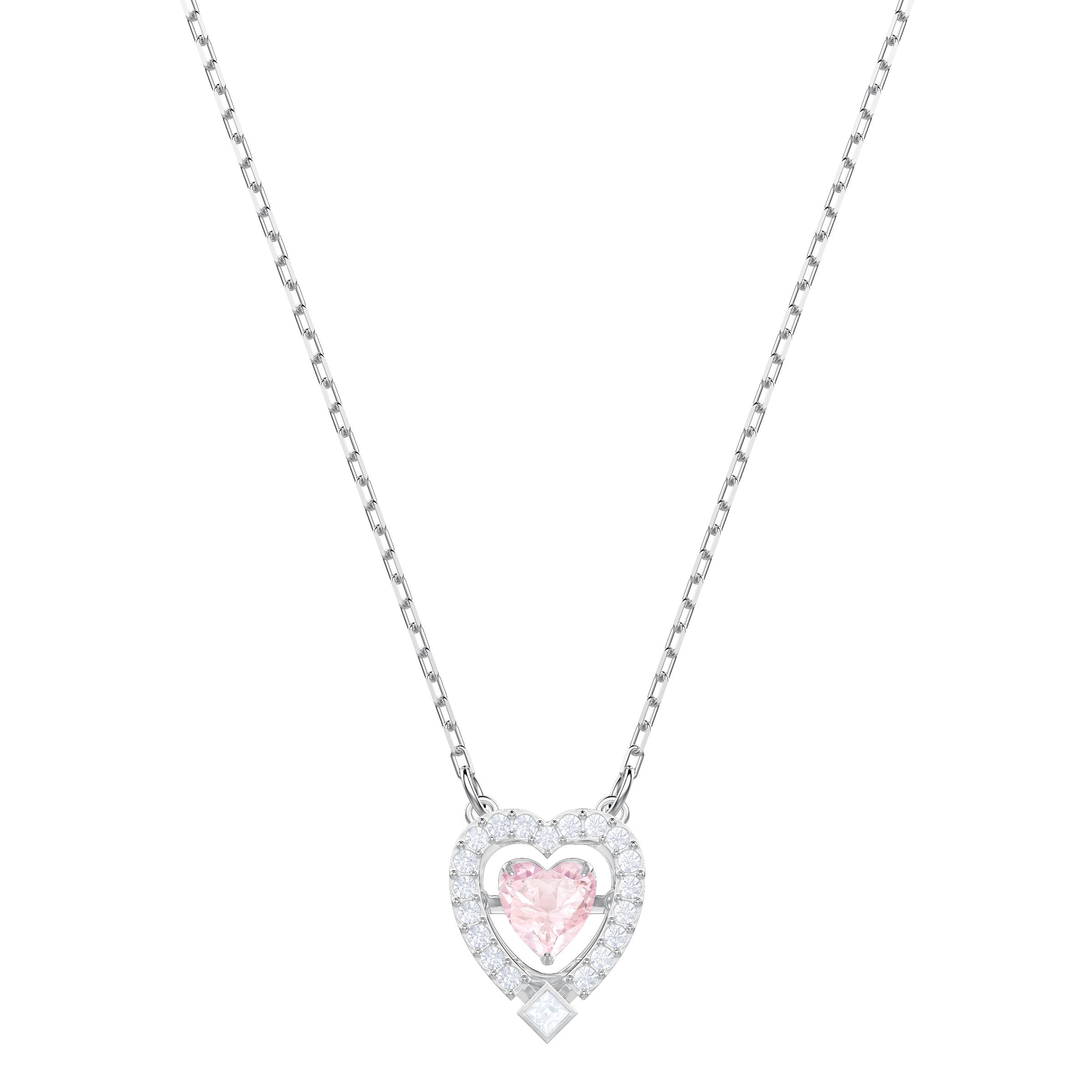 Sparkling Dance Heart Necklace, Pink, Rhodium plating