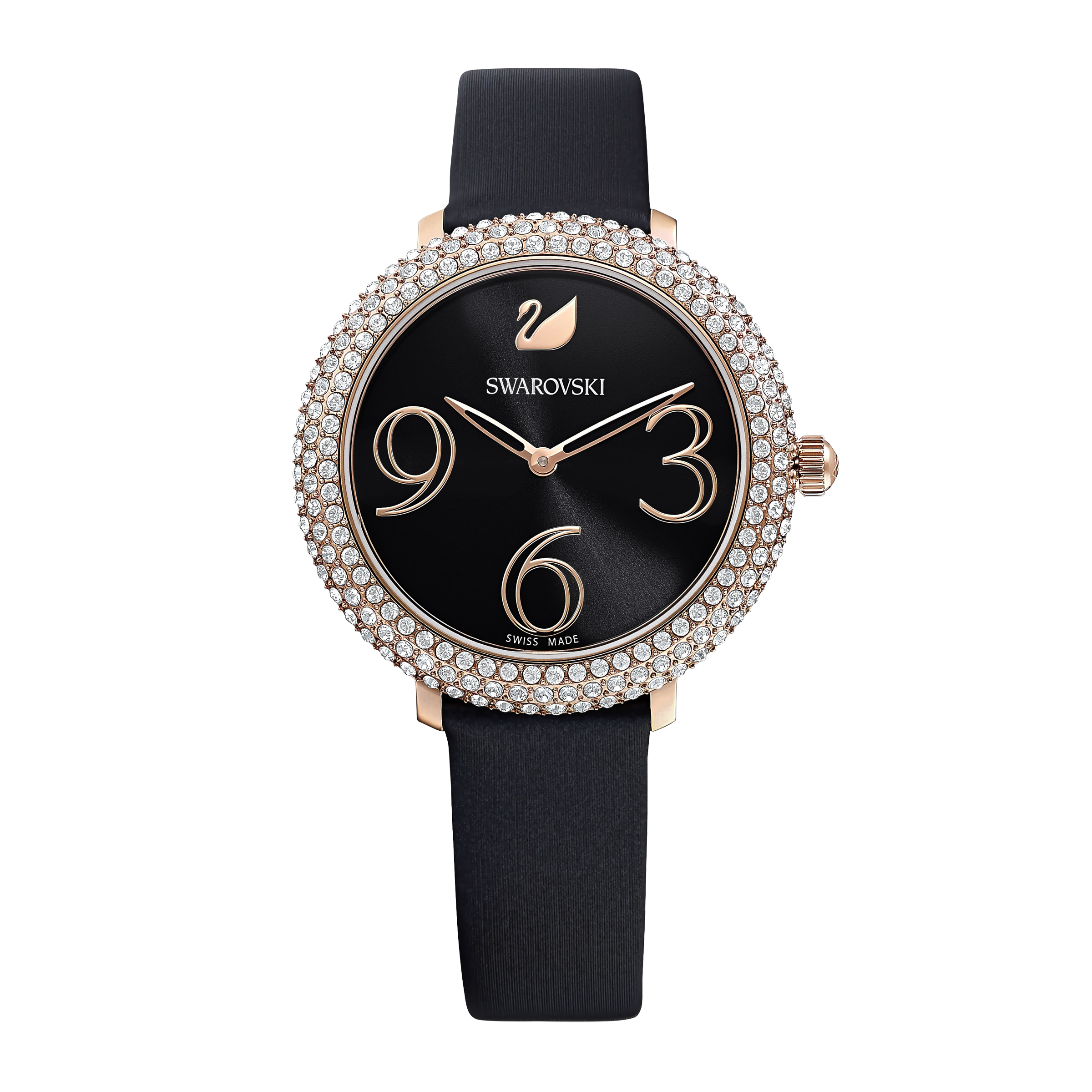 Crystal Frost Watch, Leather Strap, Black, Rose-gold tone PVD