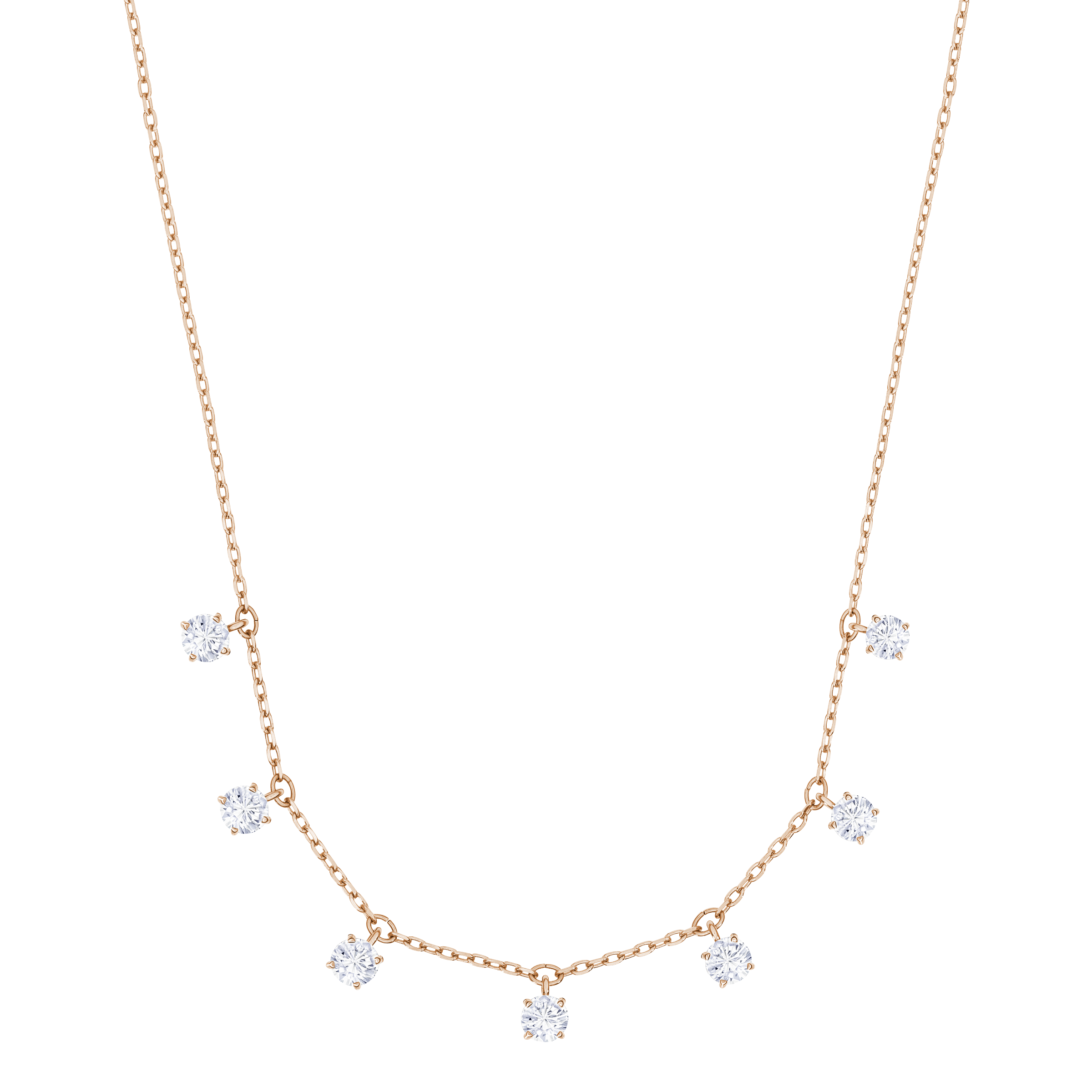 Attract Choker, White, Rose-gold tone plated