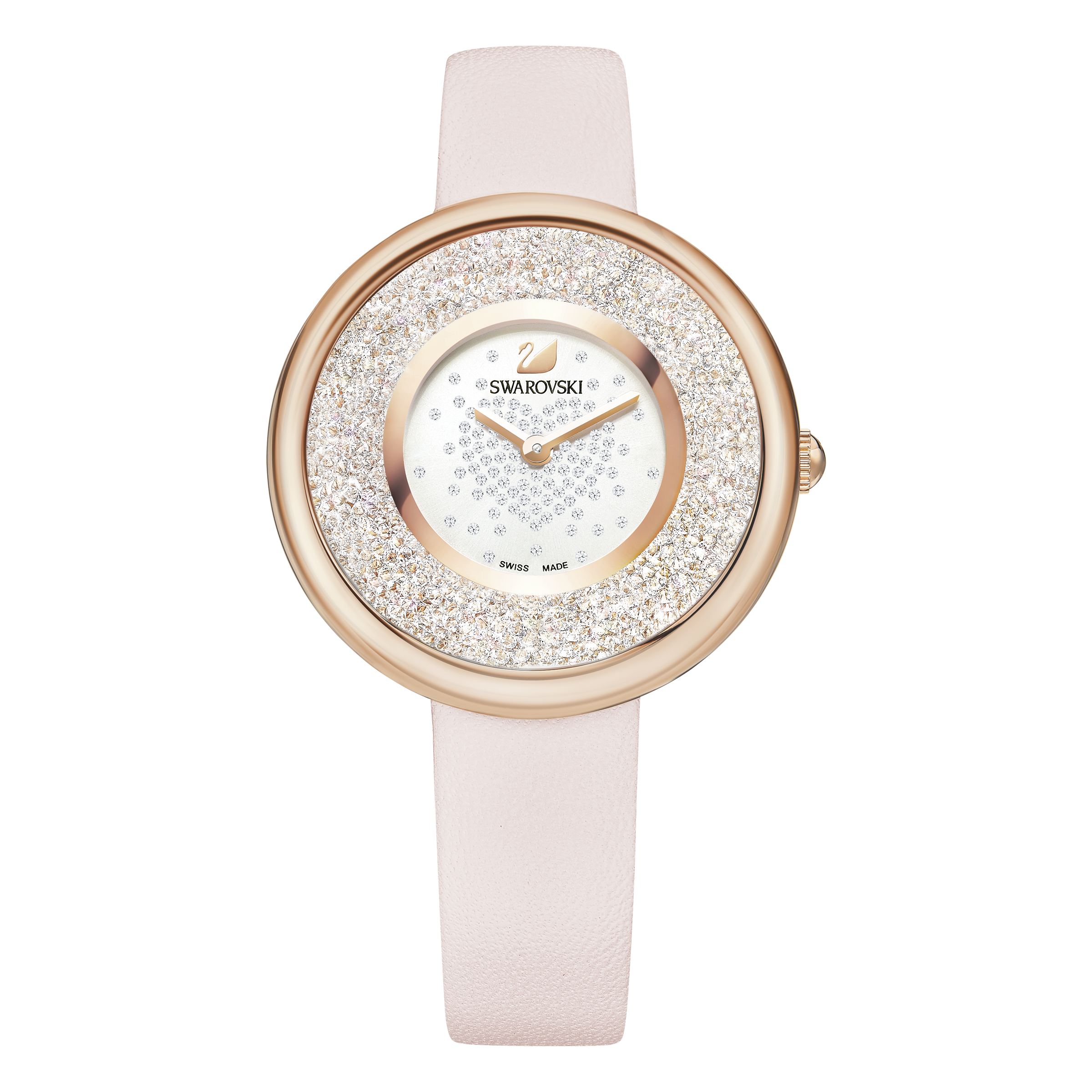 Crystalline Pure Watch, Leather Strap, Pink, Rose Gold Tone
