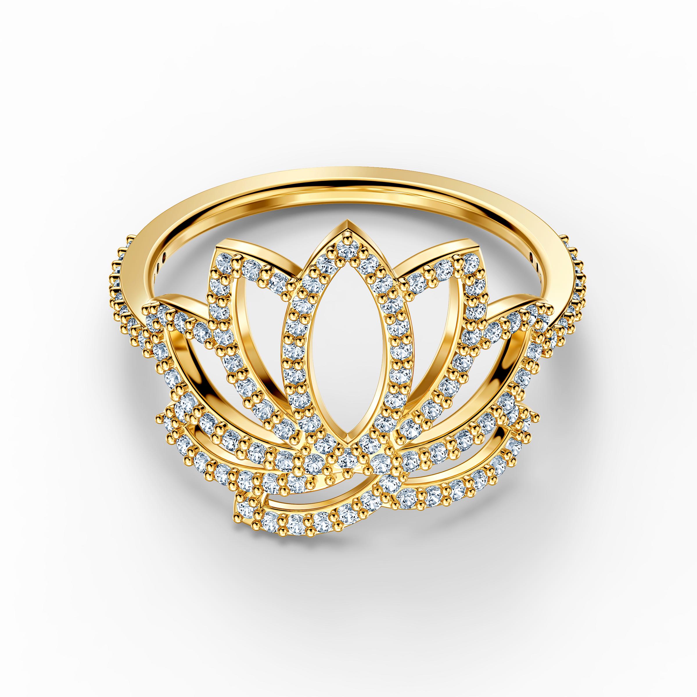Swarovski Symbolic Lotus Ring, White, Gold-tone plated