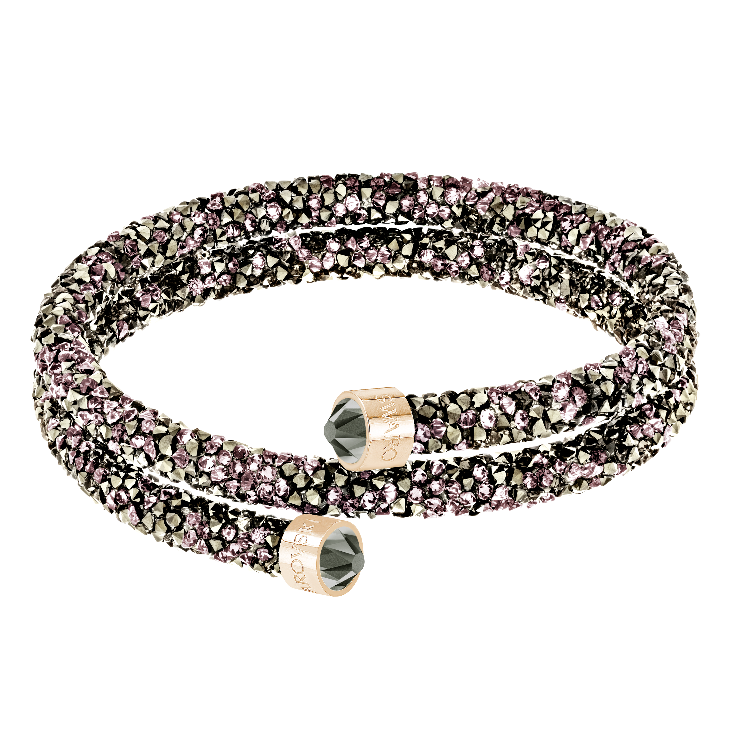 Crystaldust Double Bangle, Multi-colored, Rose-gold tone plated