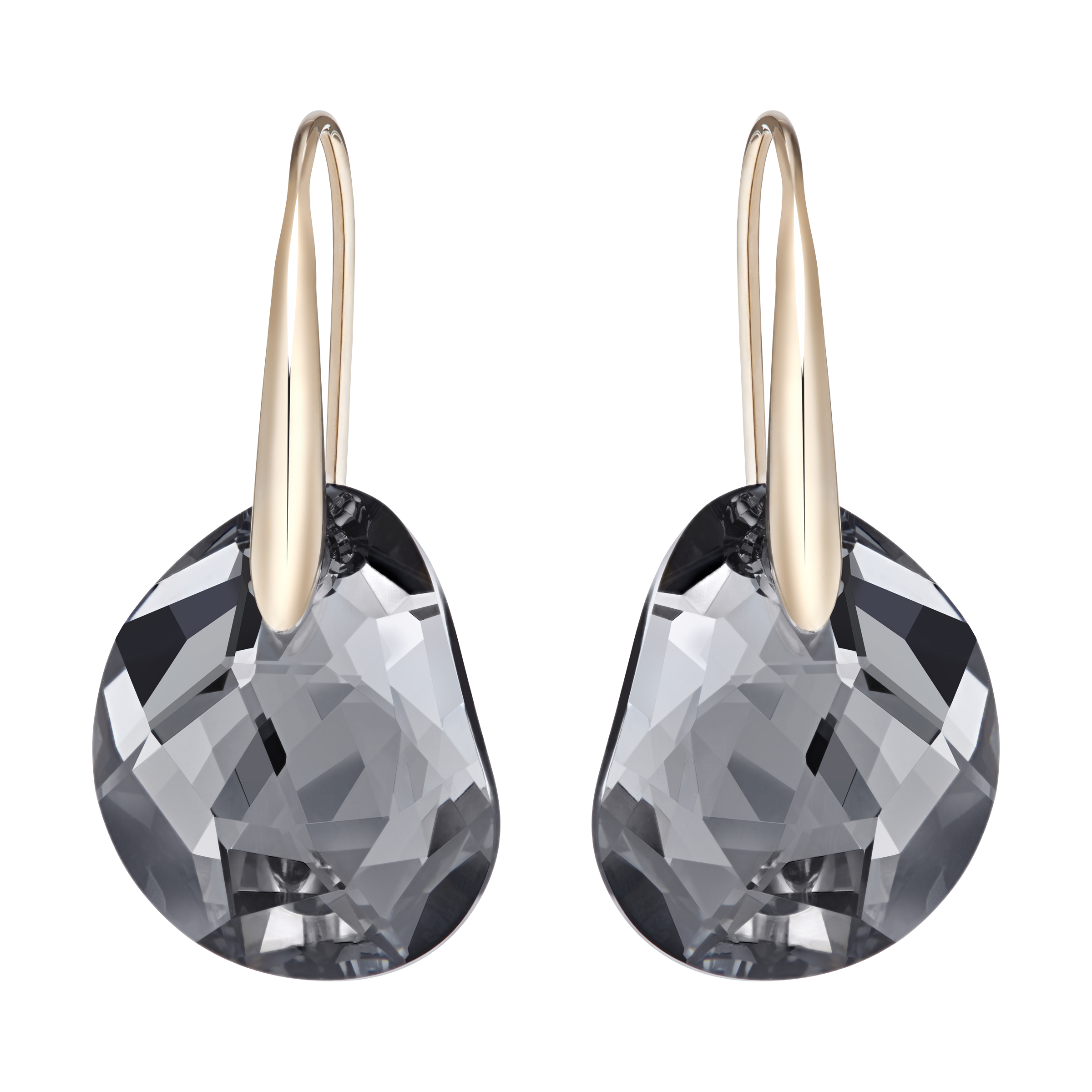 Galet Pierced Earrings, Gray, Rose-gold tone plated