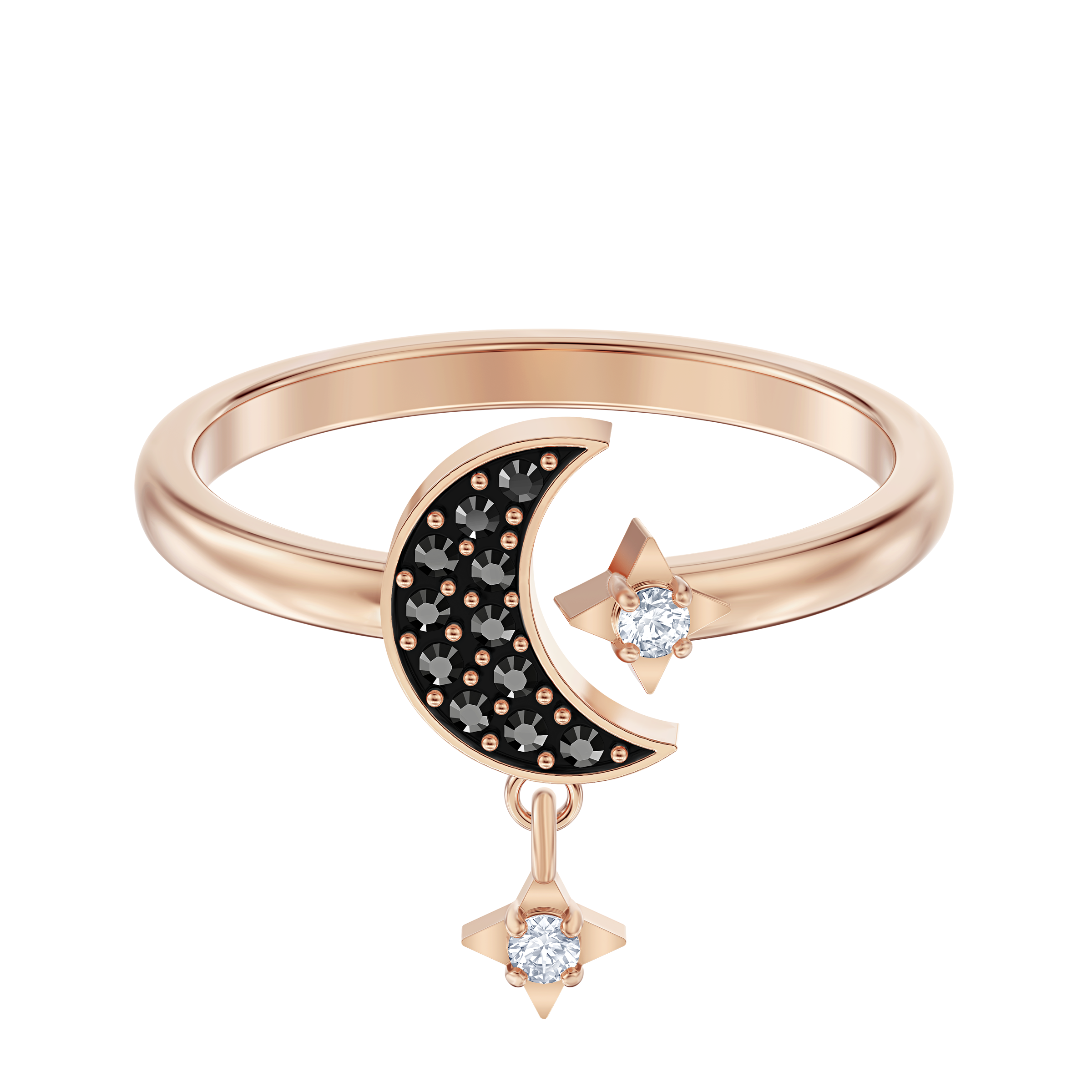 Swarovski Symbolic Moon Motif Ring, Black, Rose-gold tone plated