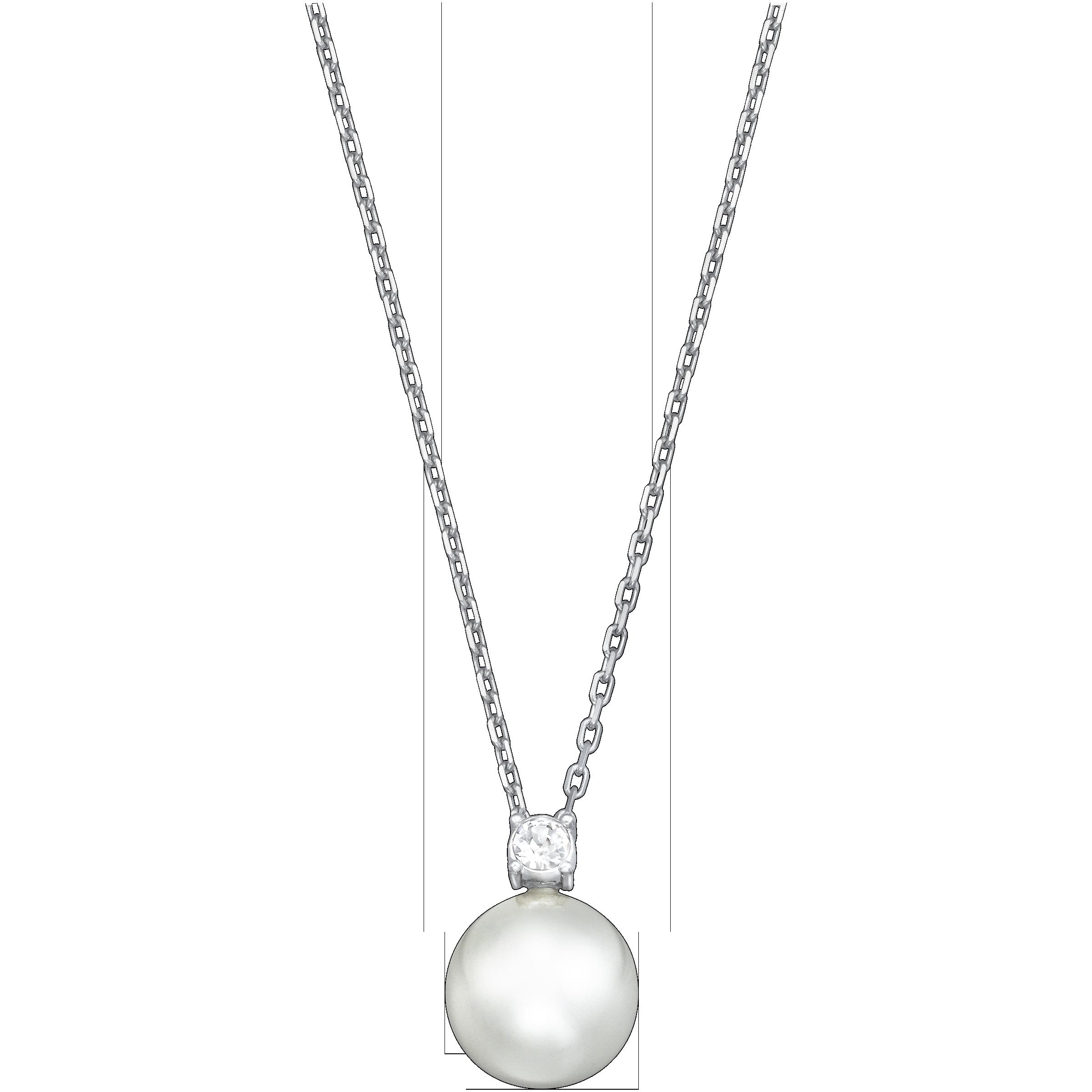 Tricia Pendant, White, Rhodium plating
