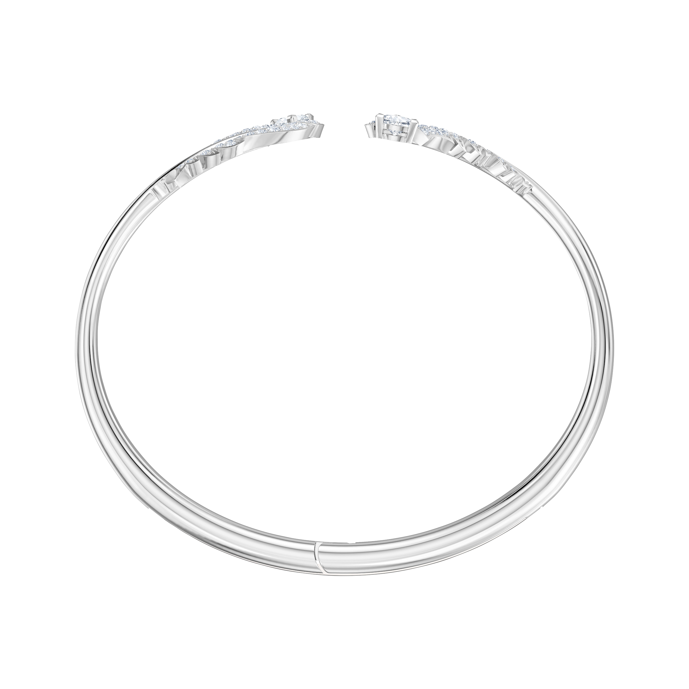 Nice Bangle, White, Rhodium plated