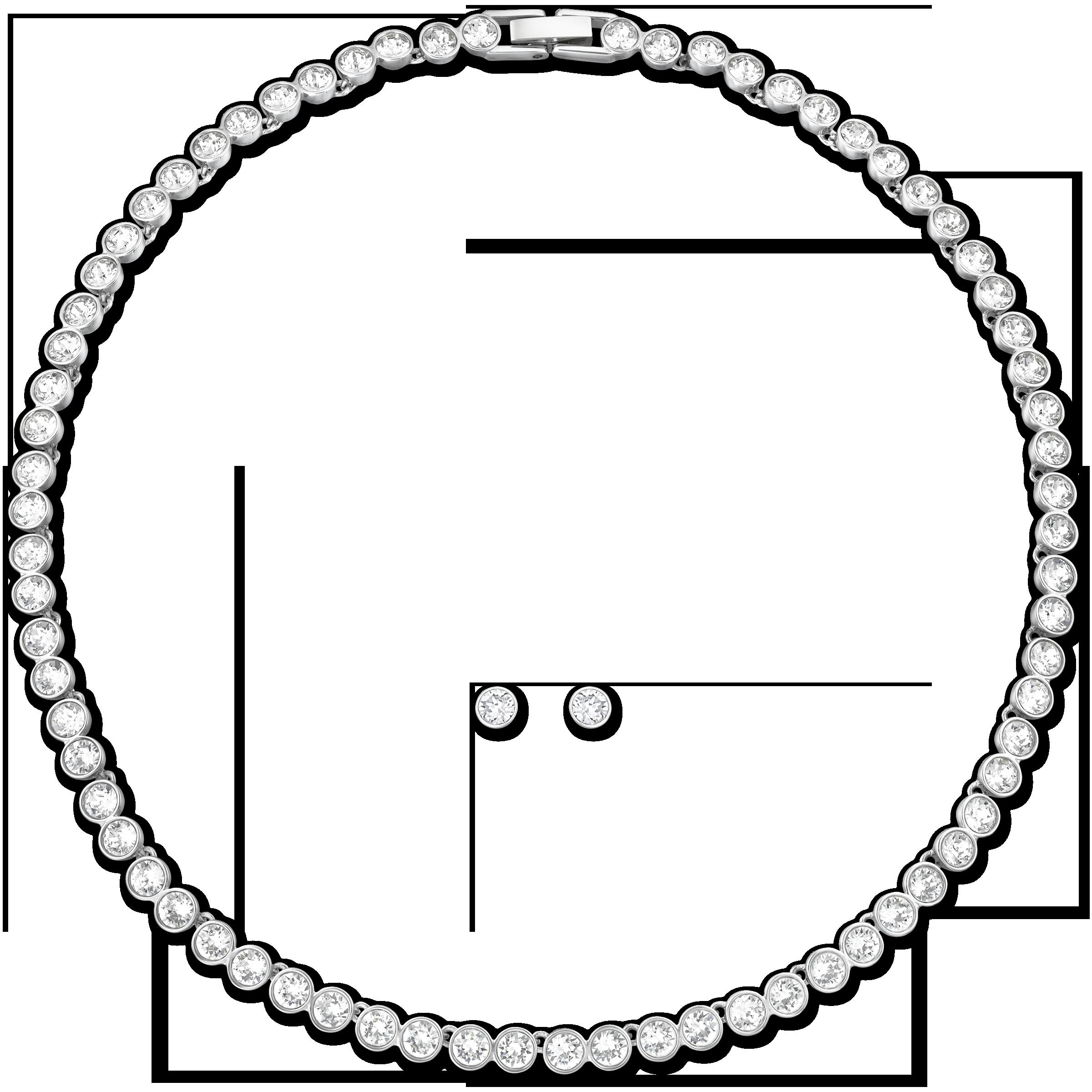 Tennis Set, White, Rhodium plated