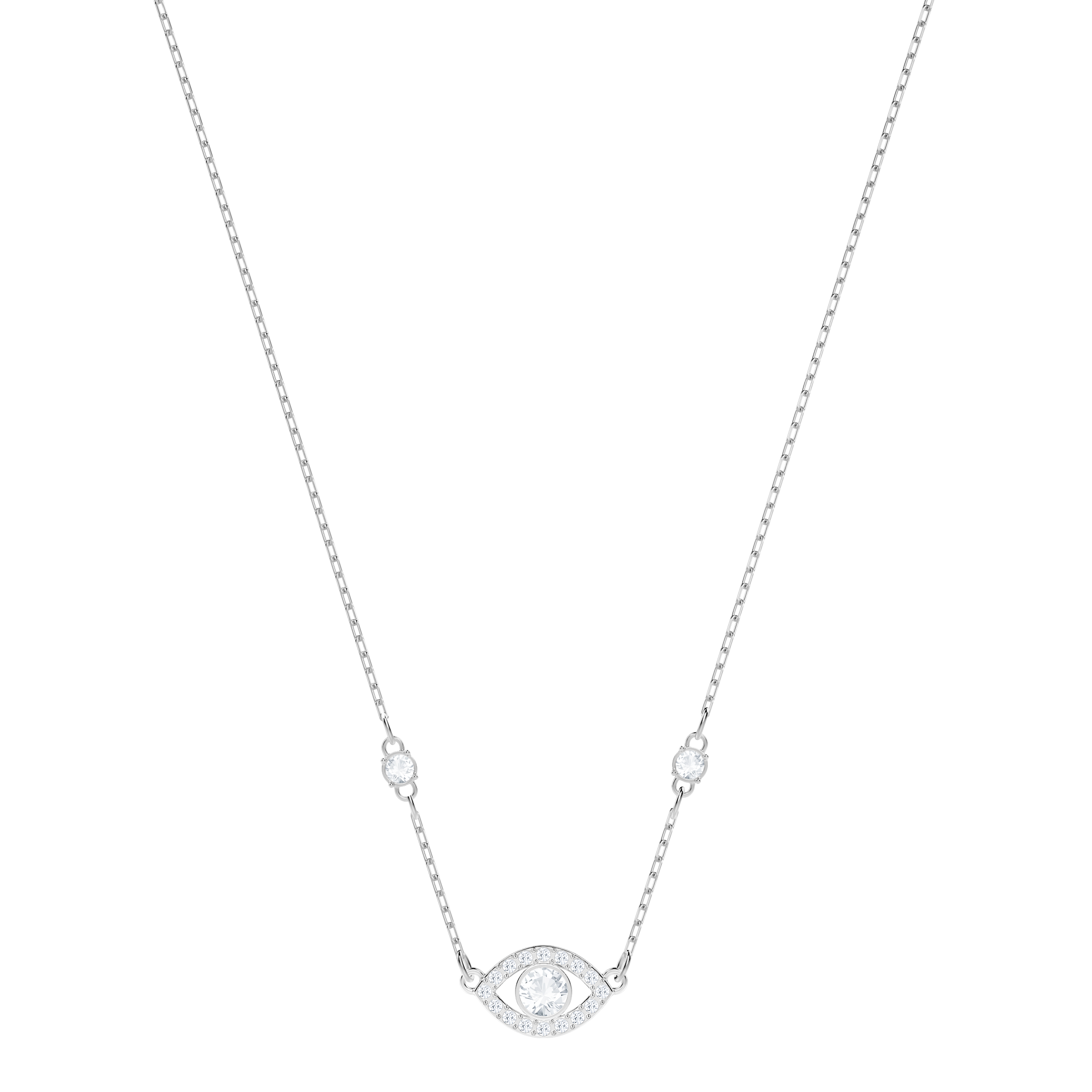 Luckily Evil Eye Necklace, White, Rhodium Plating