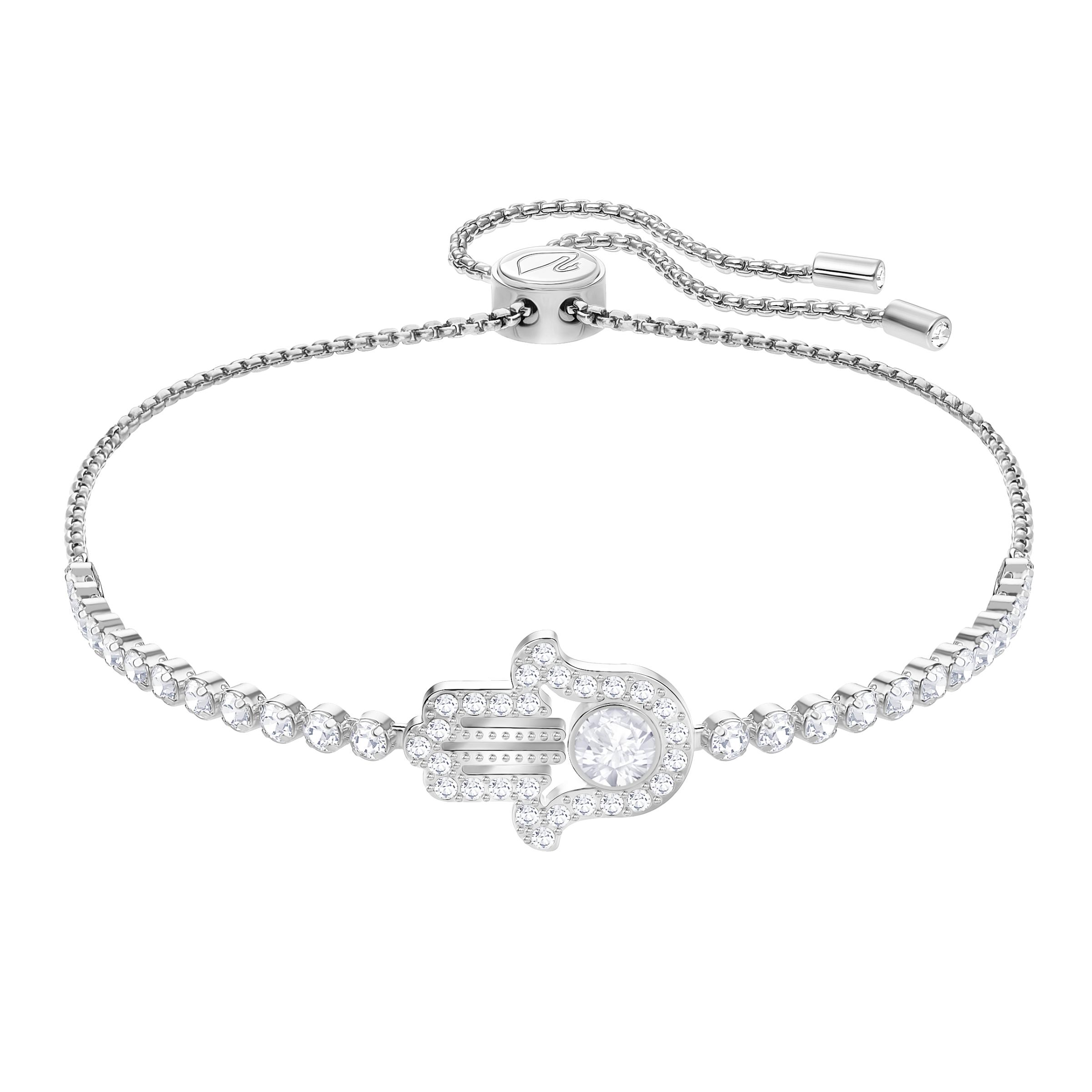 Subtle Hamsa Hand Bracelet, White, Rhodium Plating
