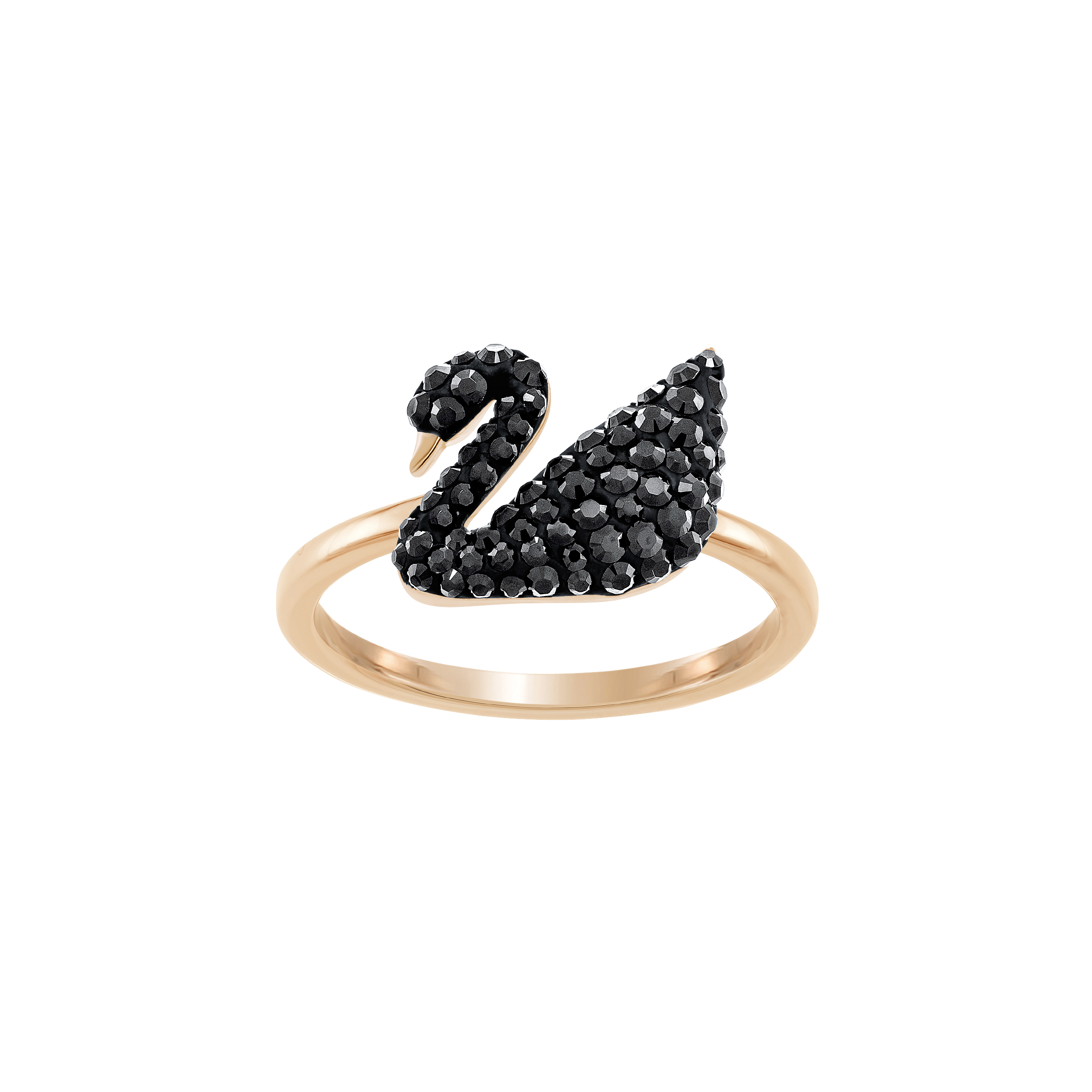 Iconic Swan Ring, Black , Rose Gold Plated