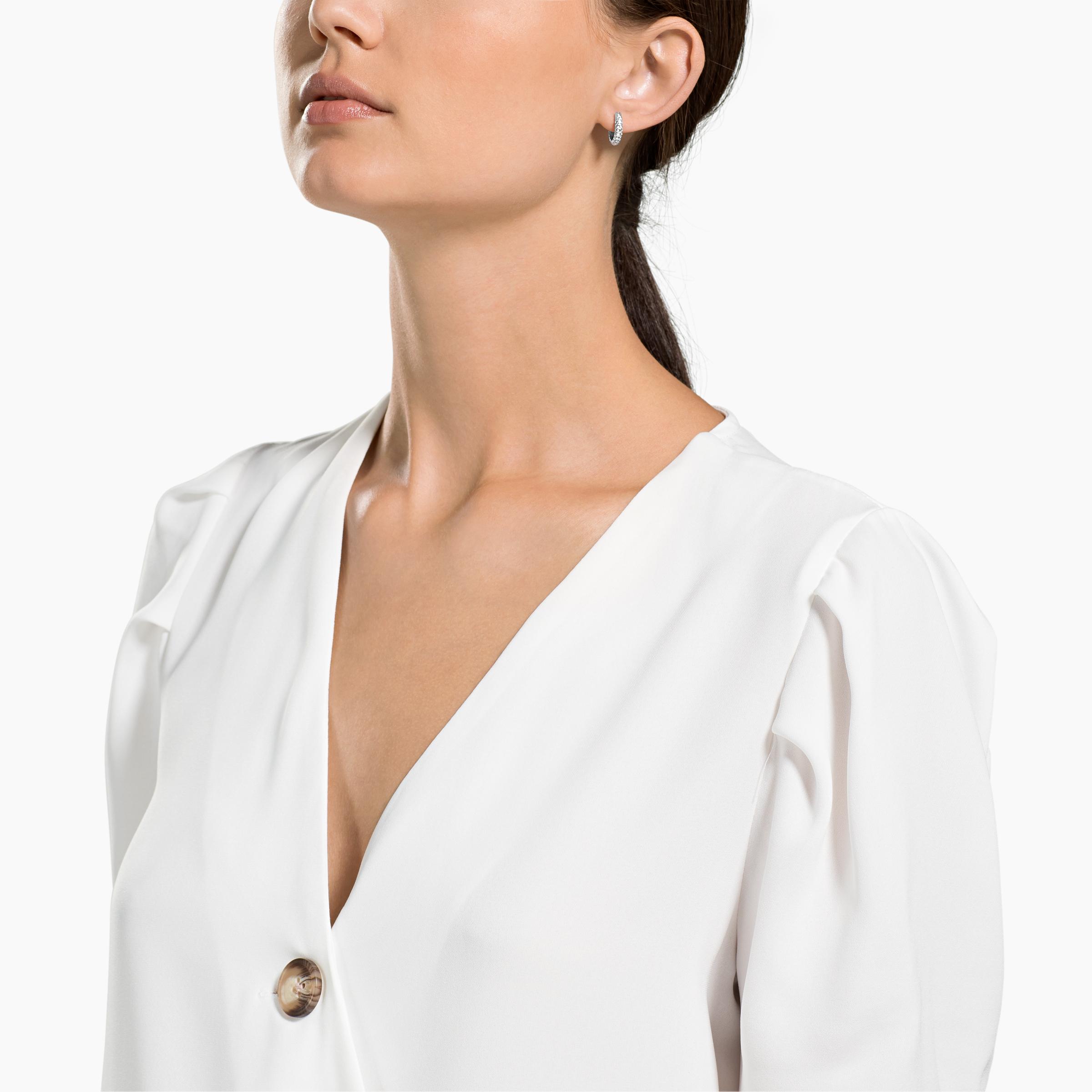 Stone Pierced Earrings, Small, White, Rhodium Plating