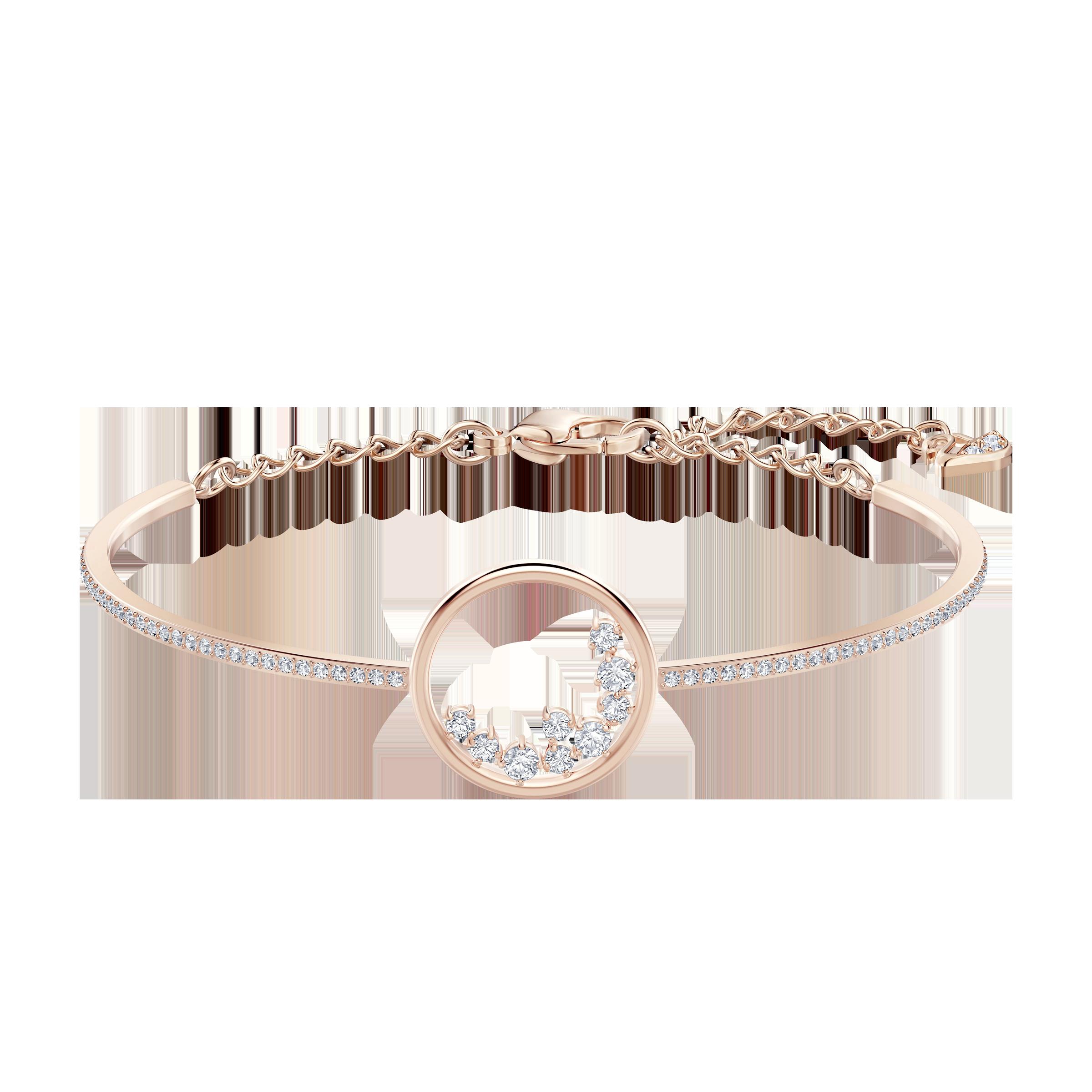 North Bracelet, White, Rose-gold tone plated