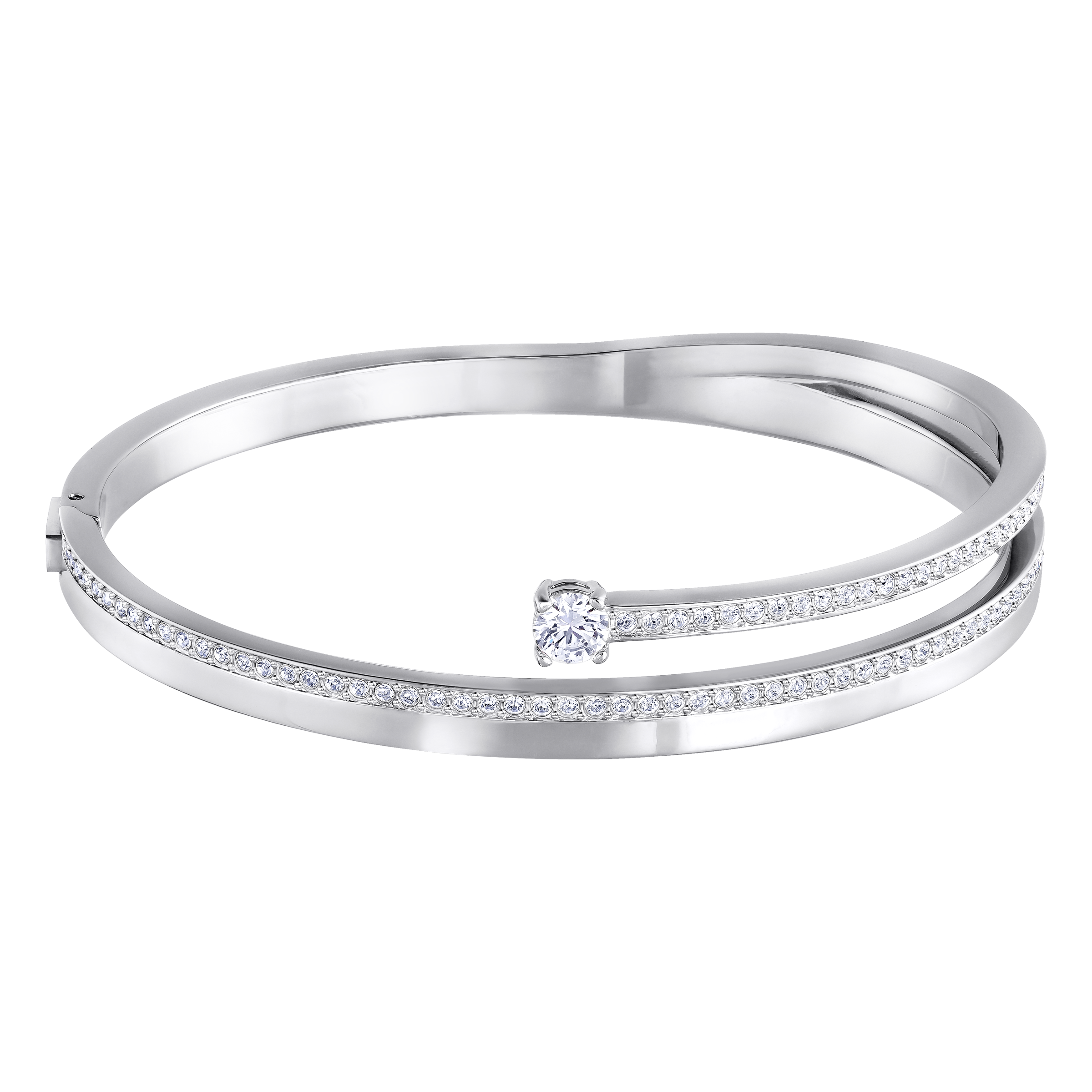 Fresh Bangle, White, Rhodium Plataed