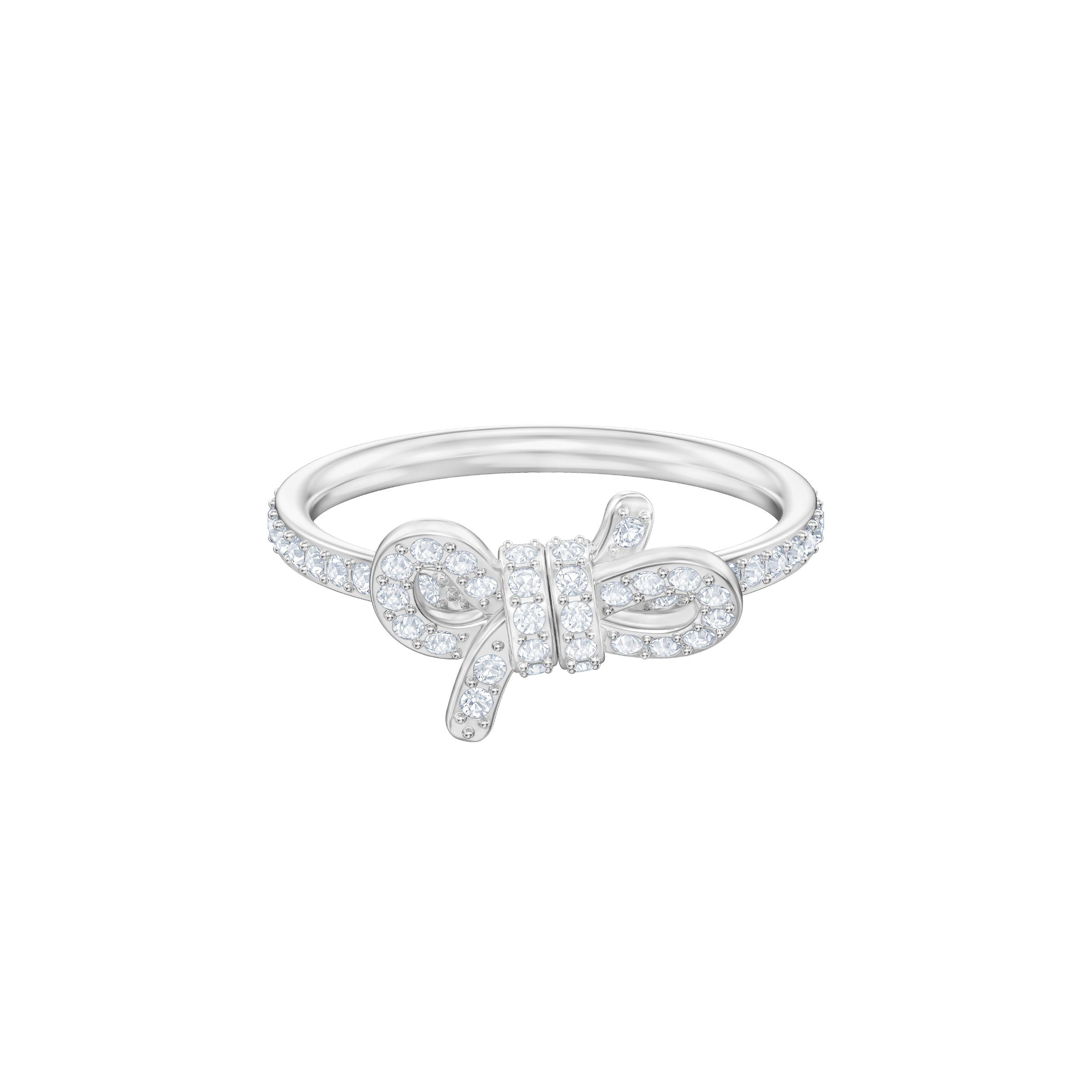 Lifelong Small Bow Ring, White, Rhodium plating