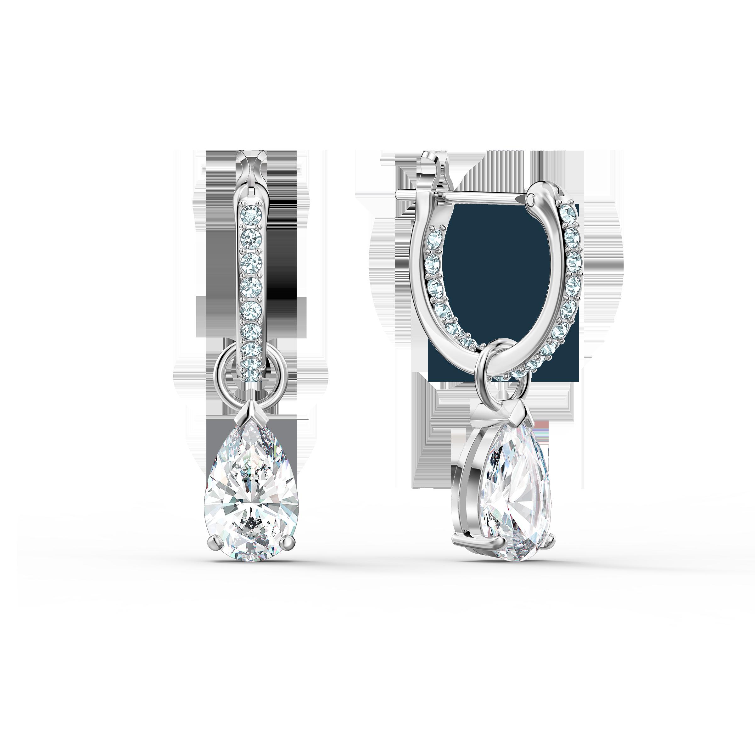 Attract  Pear Mini Hoop Pierced Earrings, White, Rhodium plated