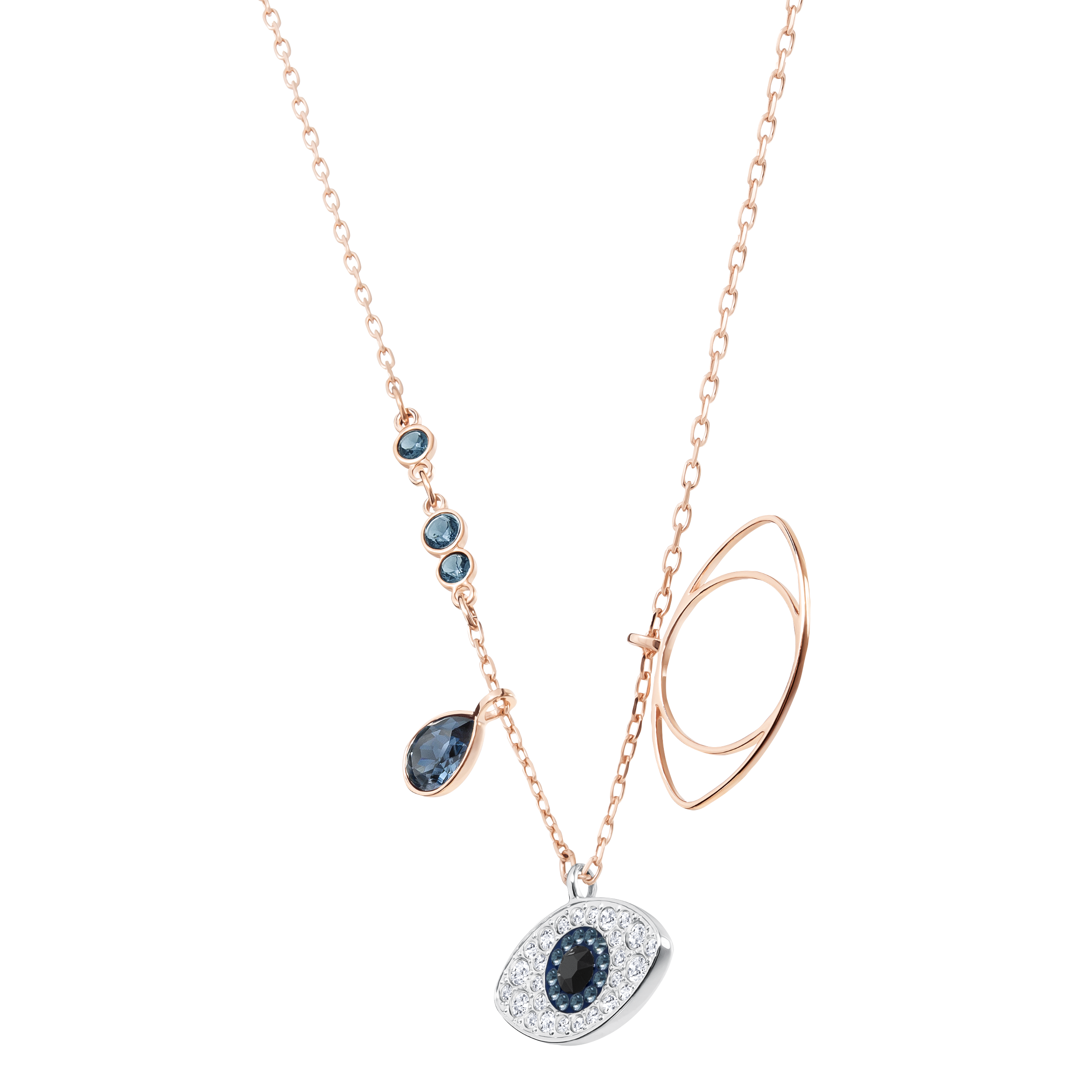 Duo Evil Eye Pendant, Blue, Mixed Plating
