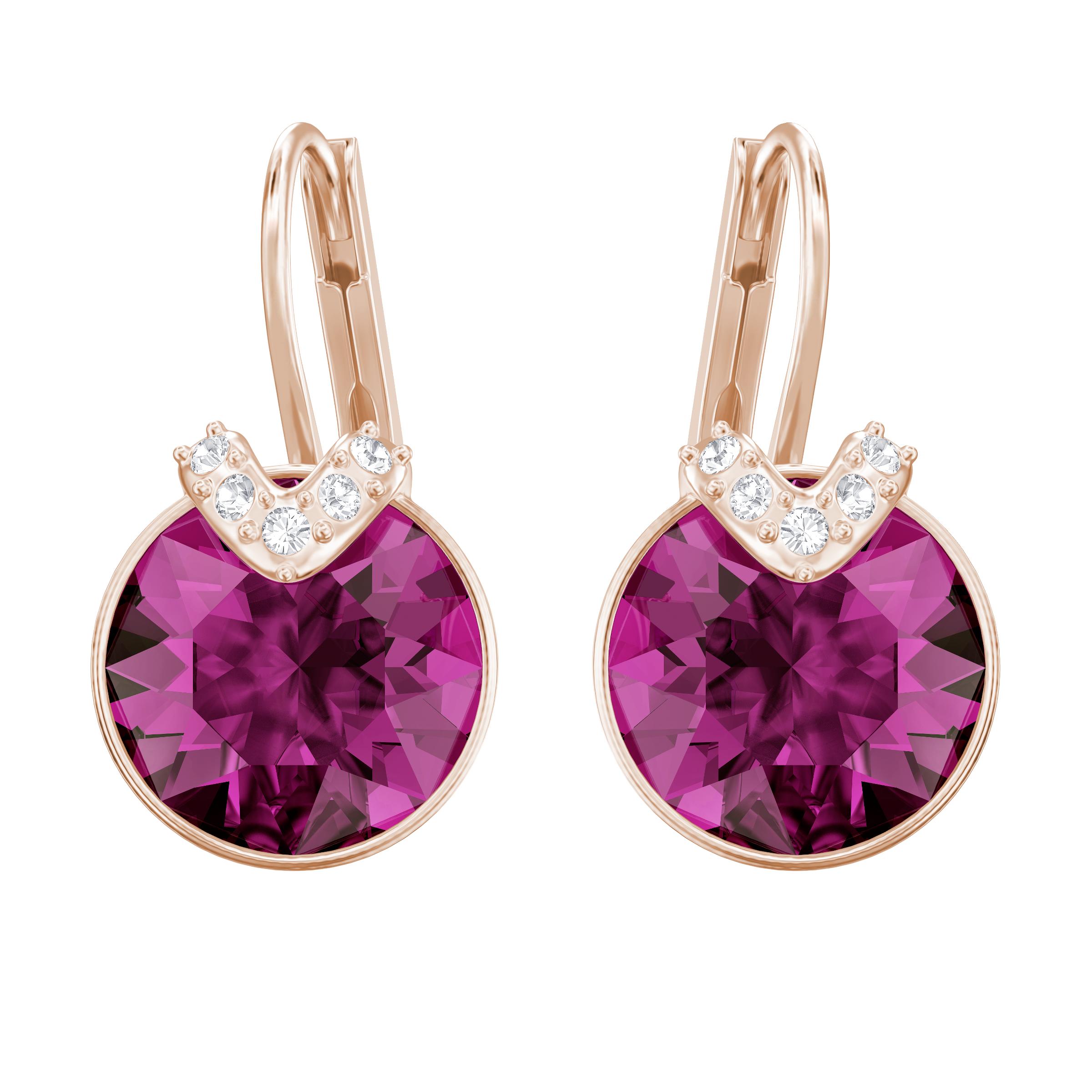 Bella V Pierced Earrings, Fuchsia, Rose Gold Plating
