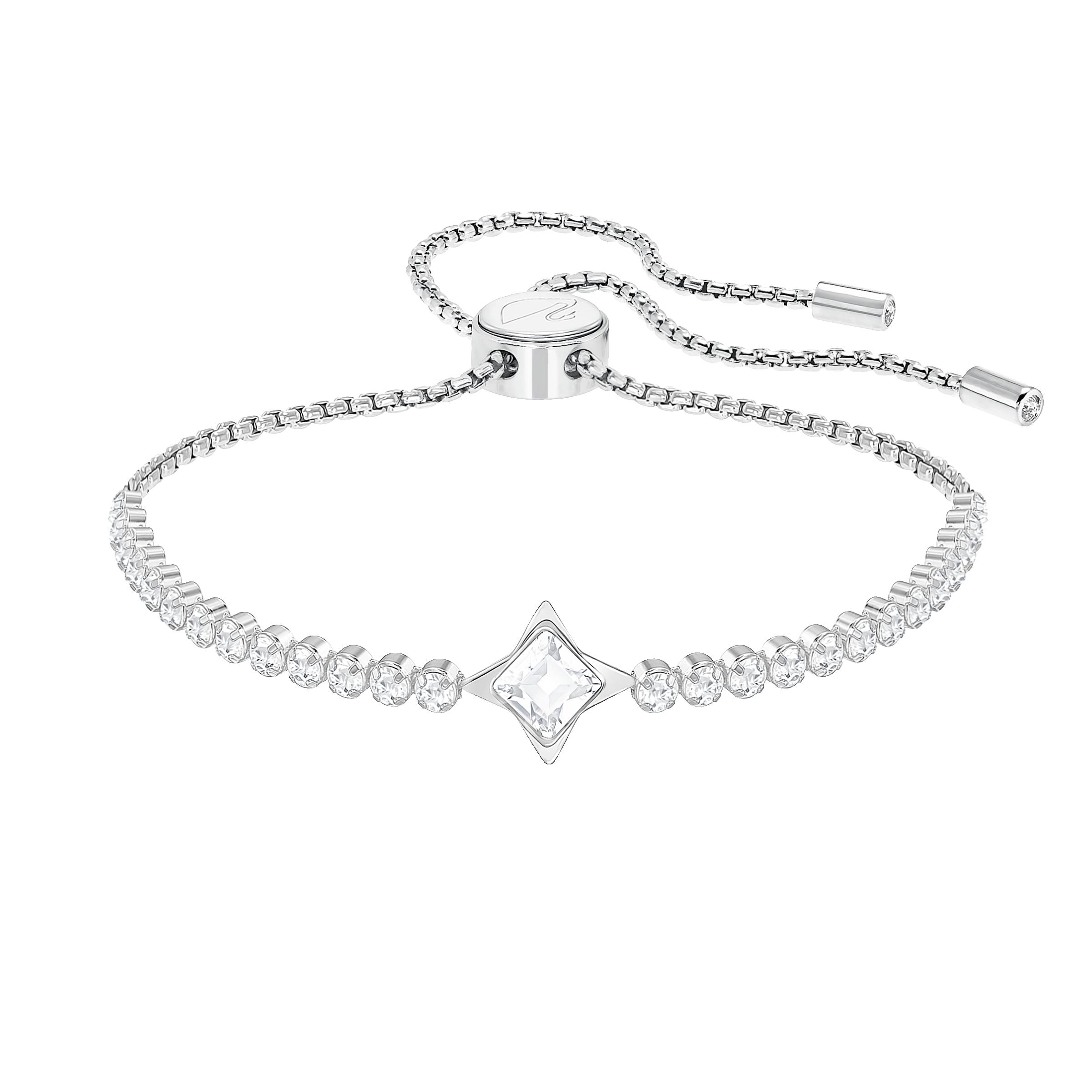 Subtle Star Bracelet, White, Rhodium plated