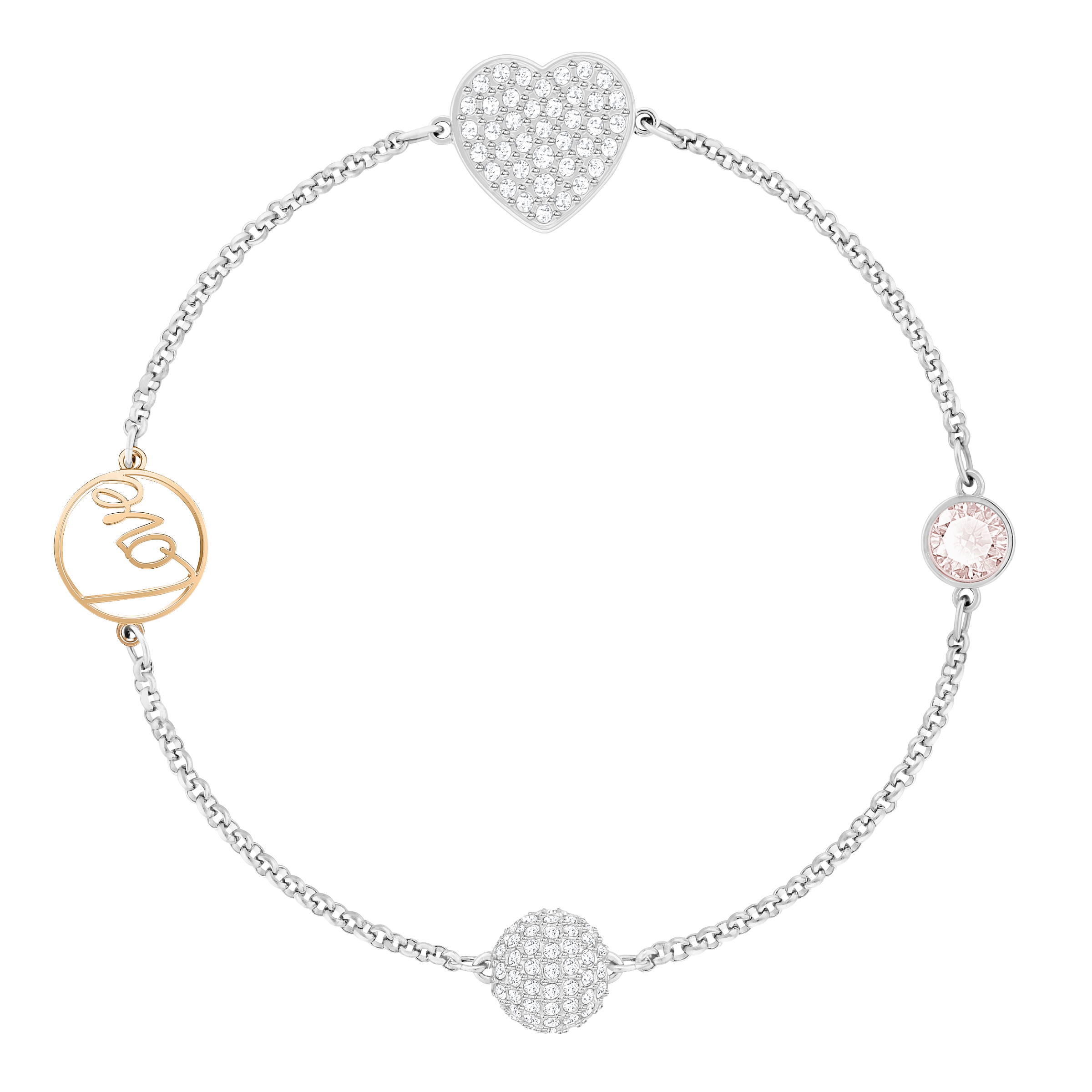 Swarovski Remix Collection Heart Strand, Pink, Mixed metal finish