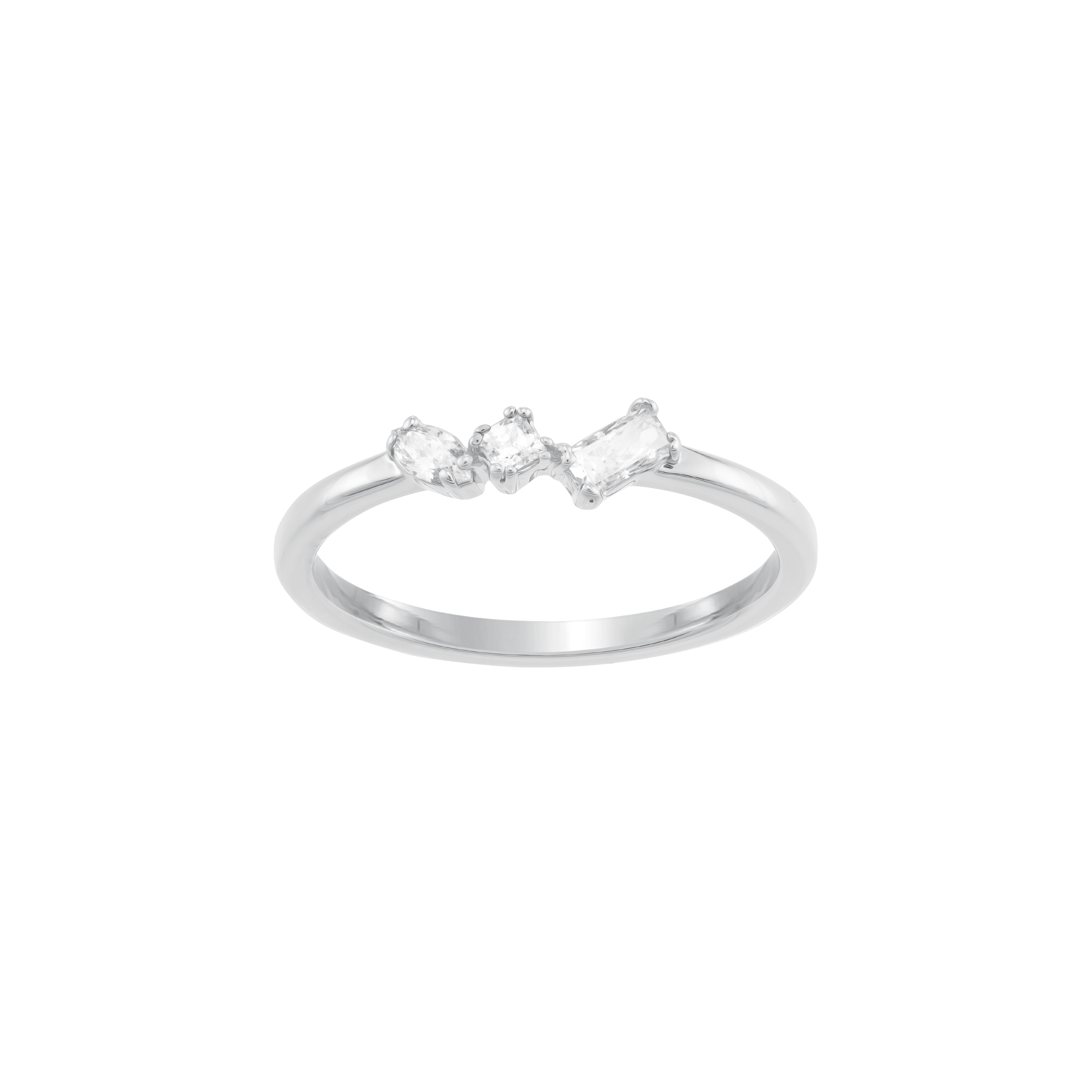 Frisson Ring, White, Rhodium plated