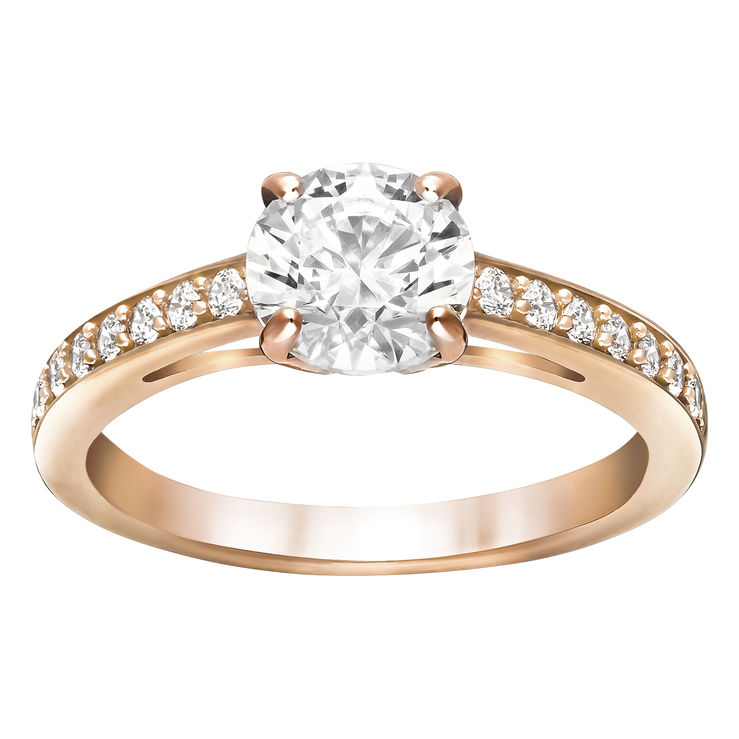 Attract Round Ring, Rose Gold Plated
