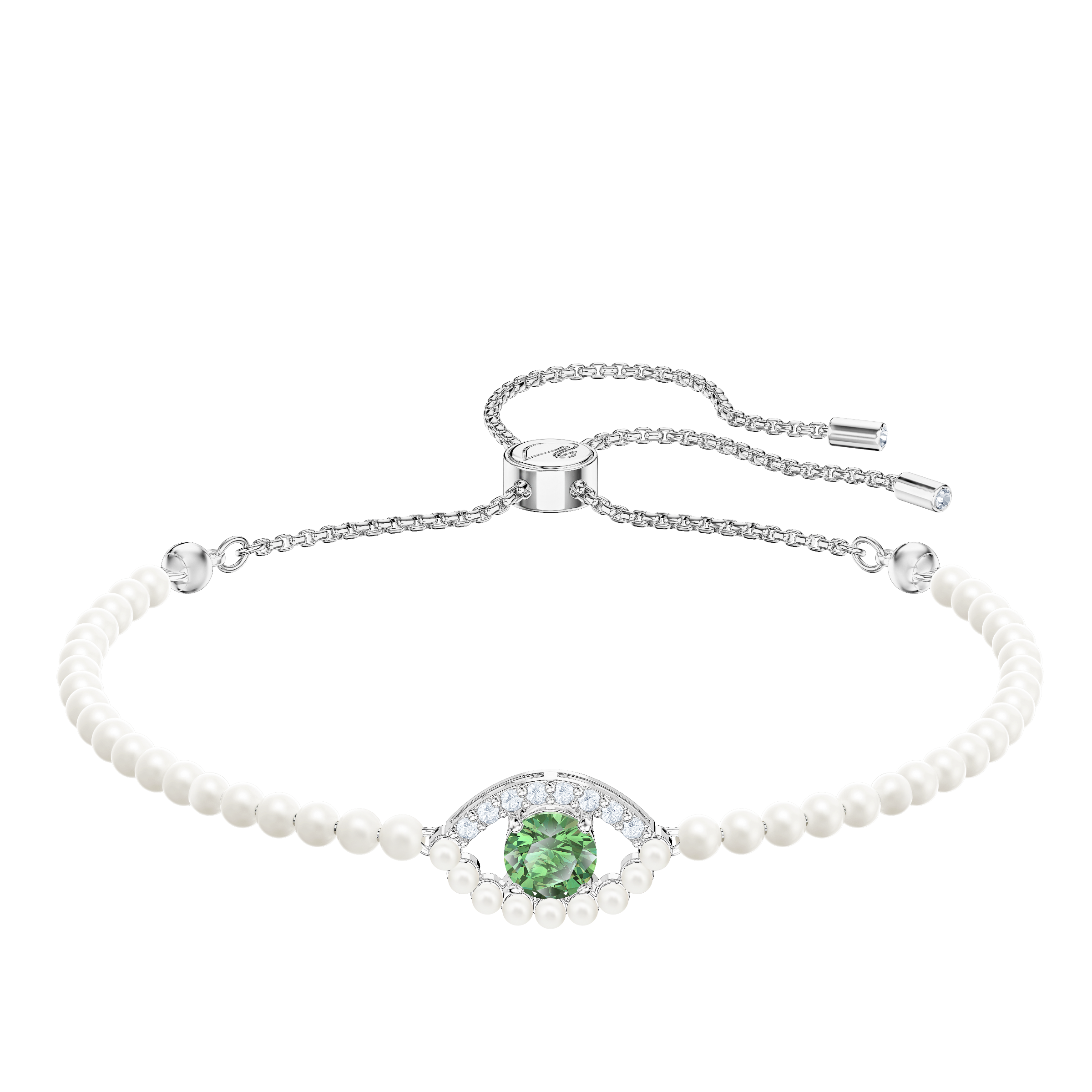 Luckily Bracelet, Green, Rhodium plated