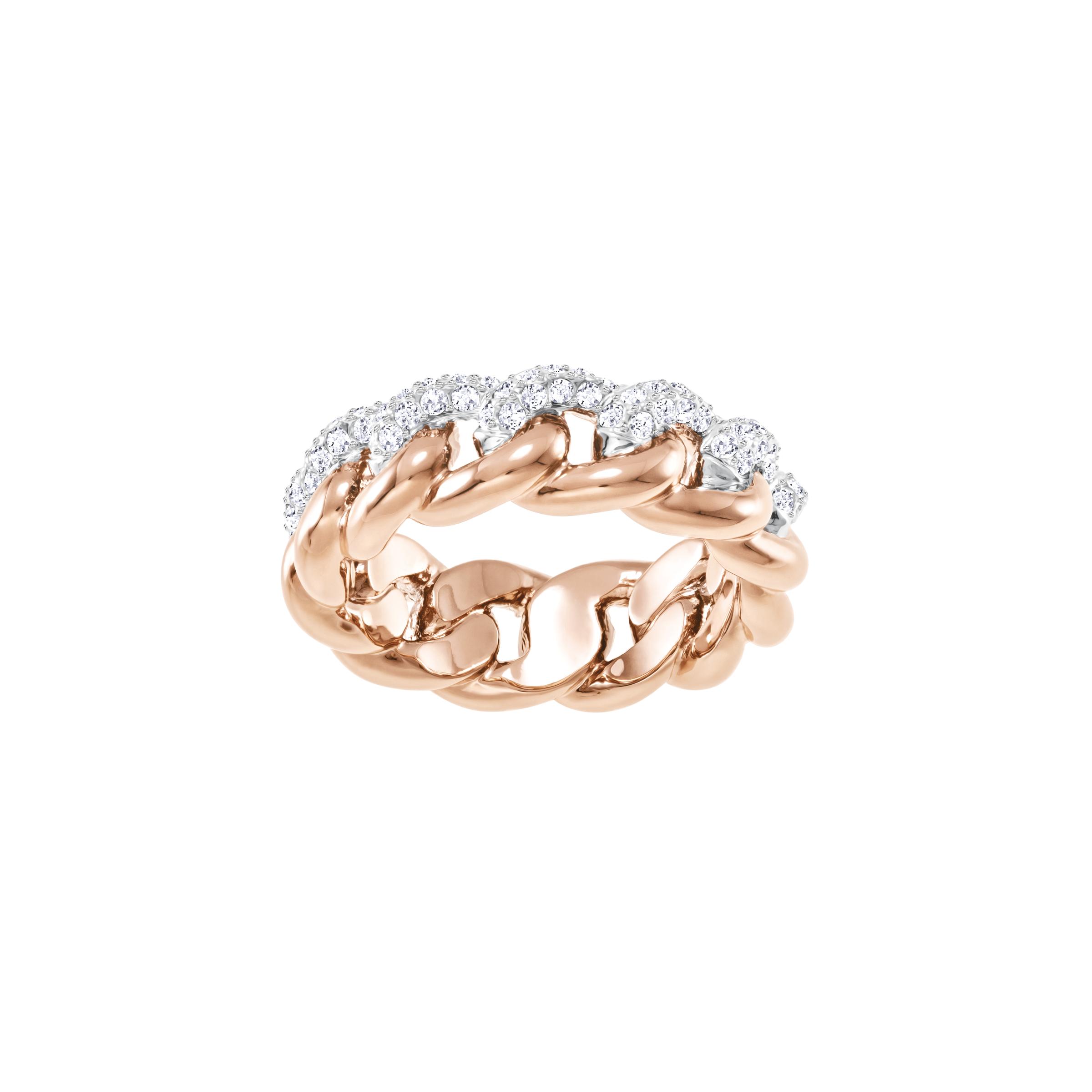 Lane Ring, White, Rose-gold tone plated