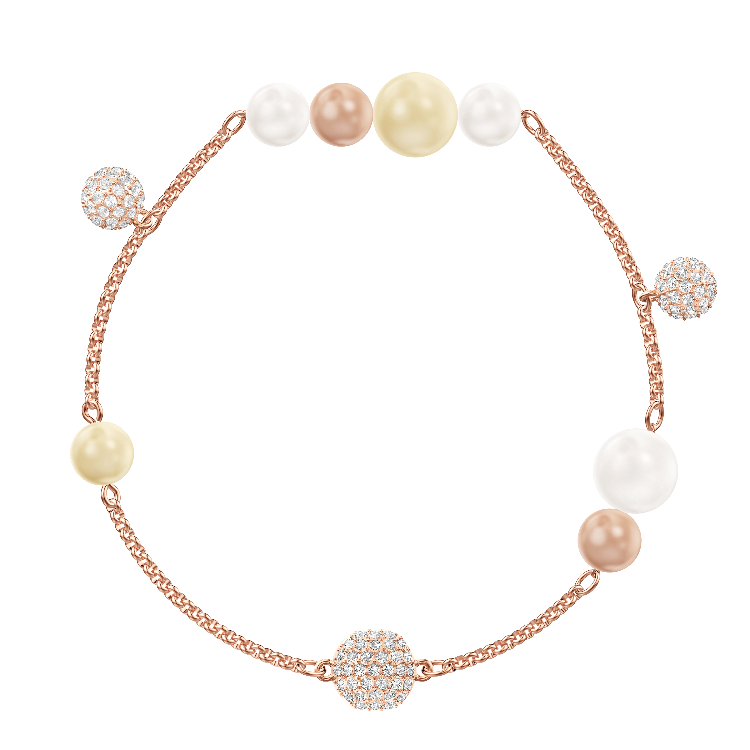 Swarovski Remix Collection Pearl Strand, Large, Multi-colored, Rose gold plating