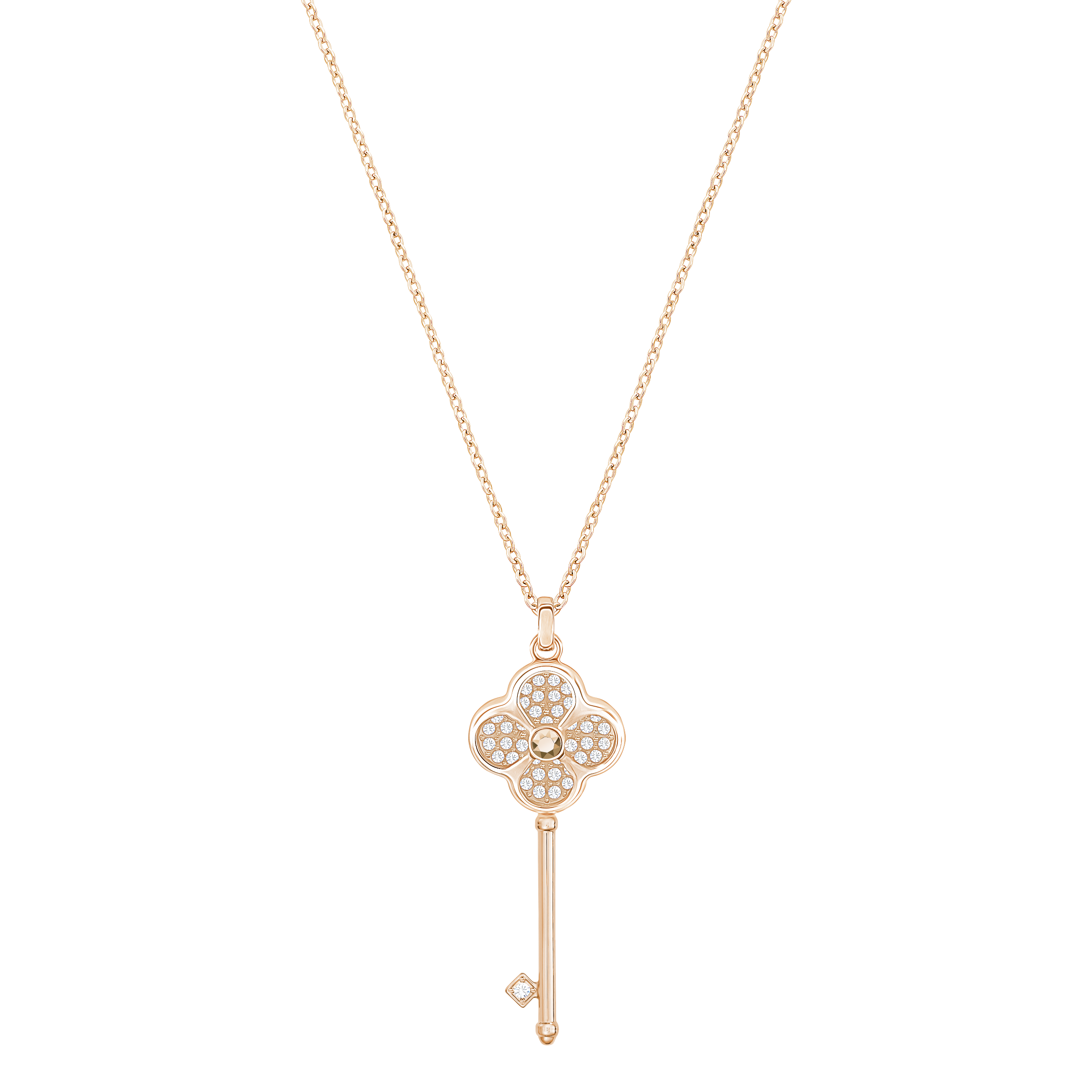 Hall Key Pendant, Multi-colored, Rose gold tone plated