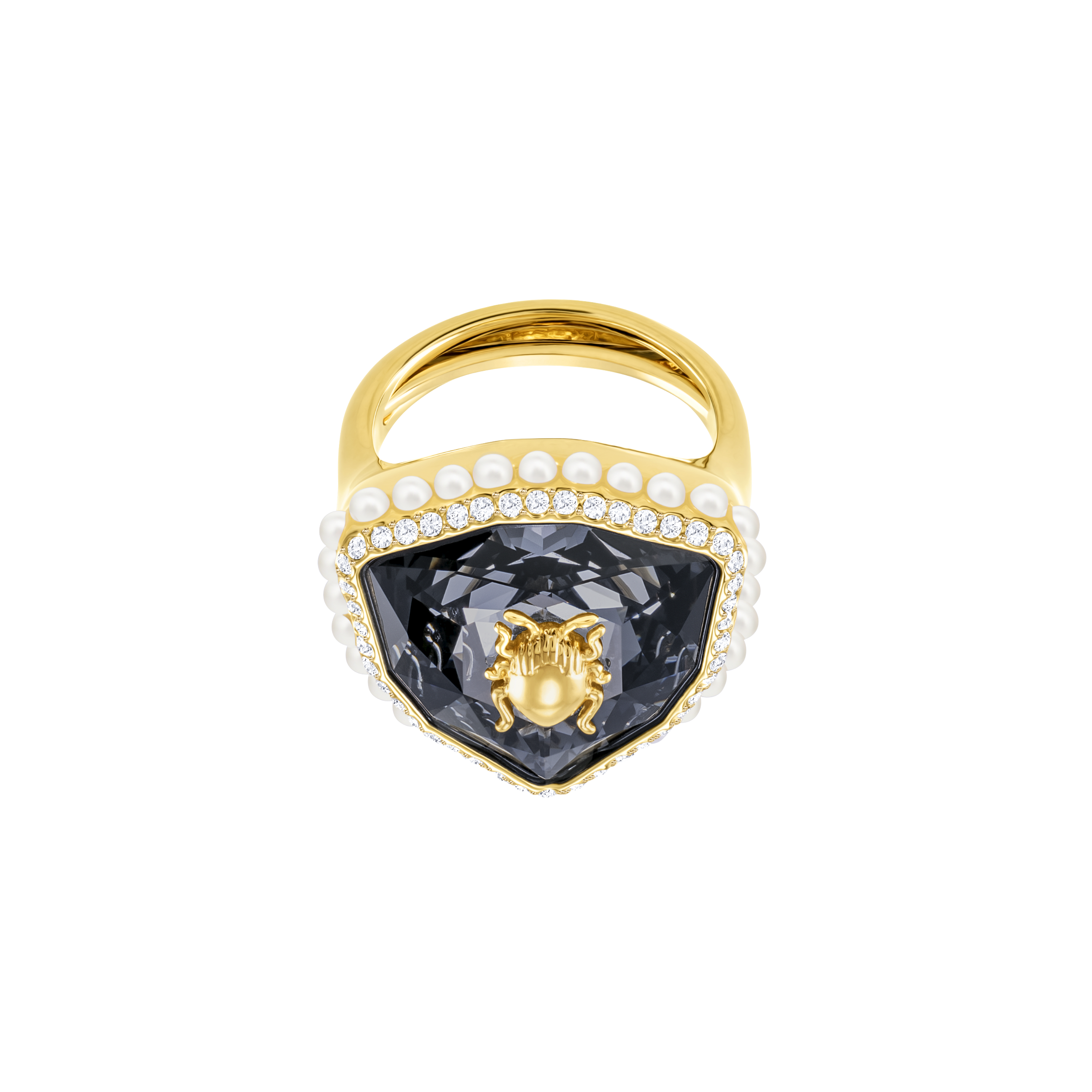 Magnetic Cocktail Ring, Multi-Colored, Gold Plating