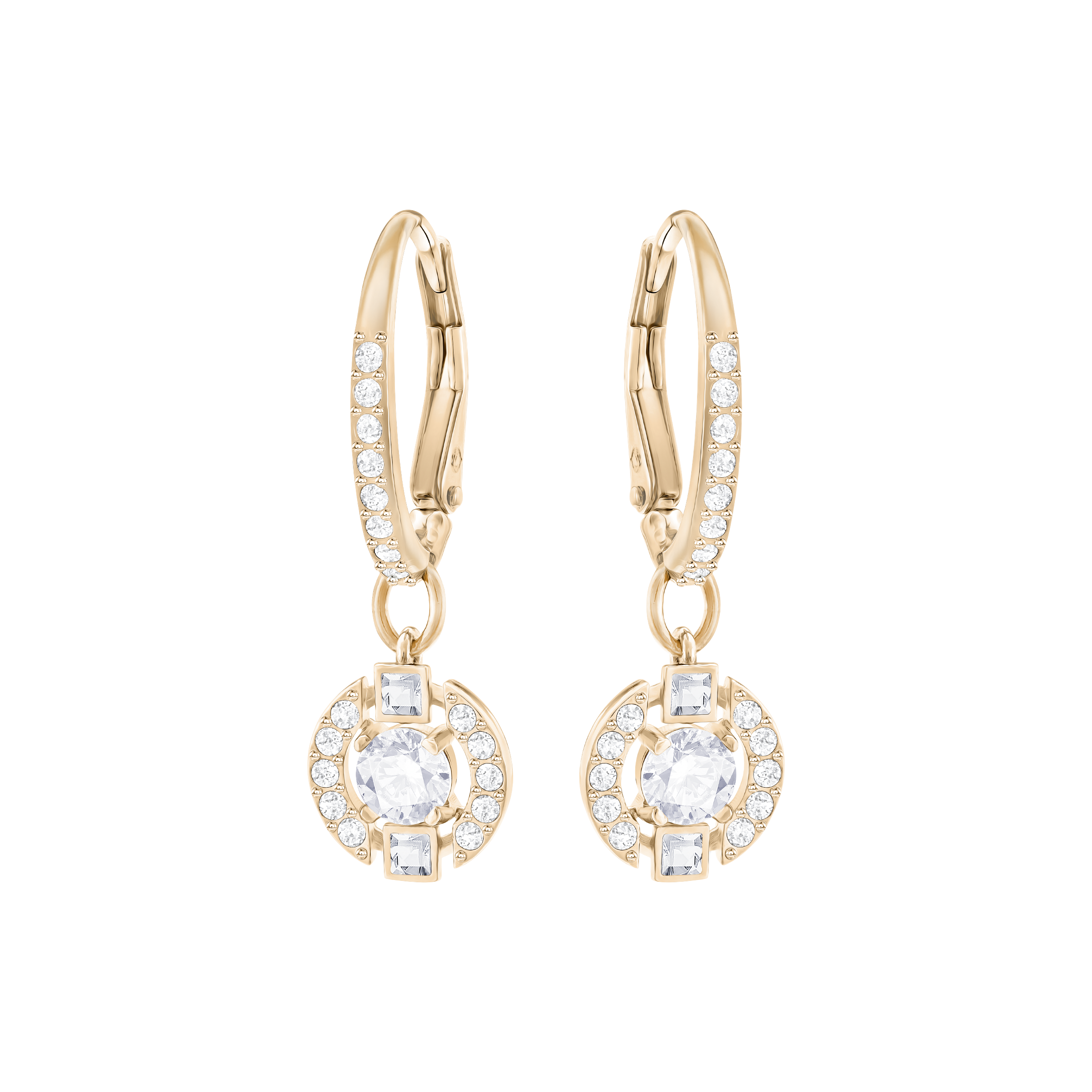 Sparkling Dance Round Pierced Earrings, White, Rose Gold Plated