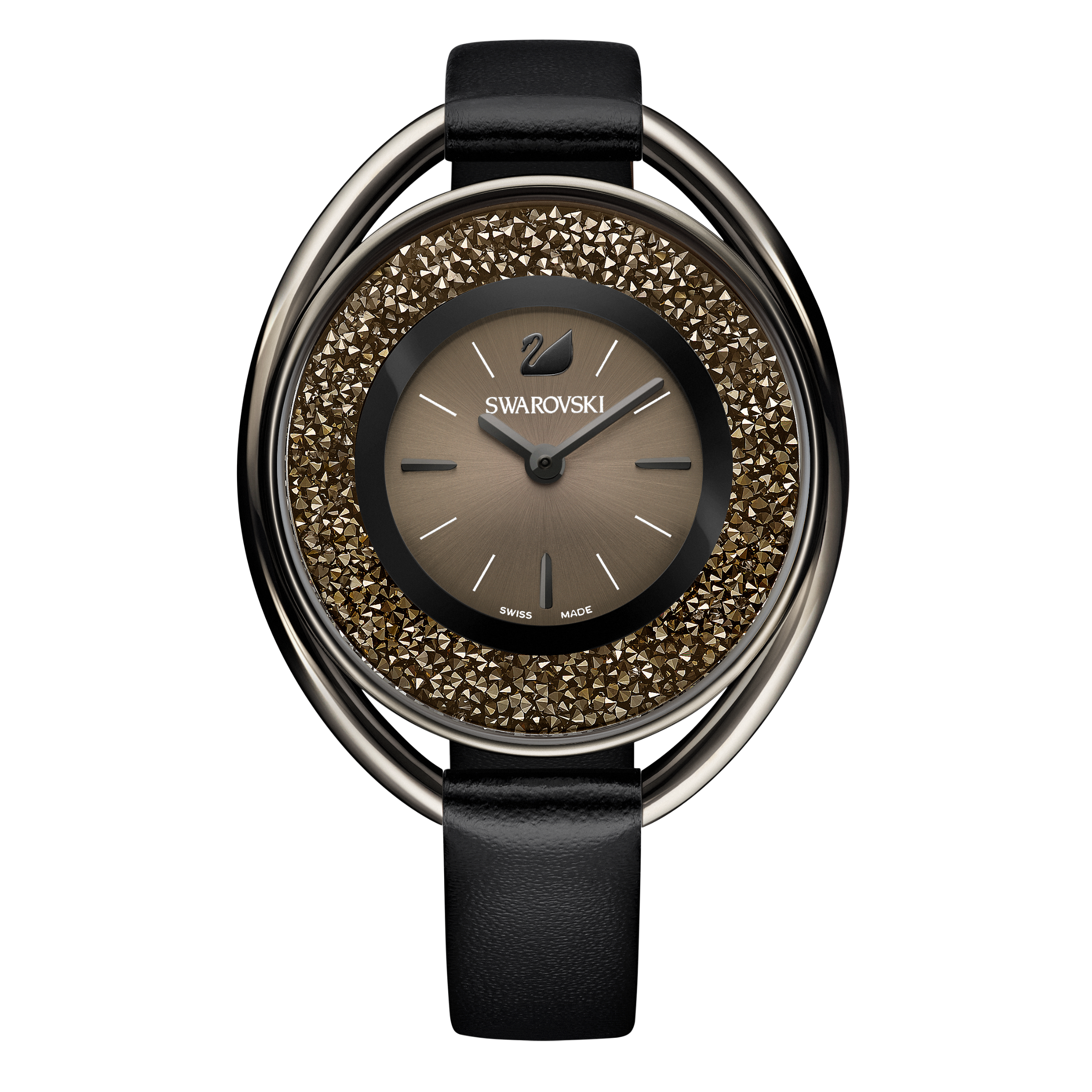 Crystalline Oval Watch, Leather strap, Black, Black PVD
