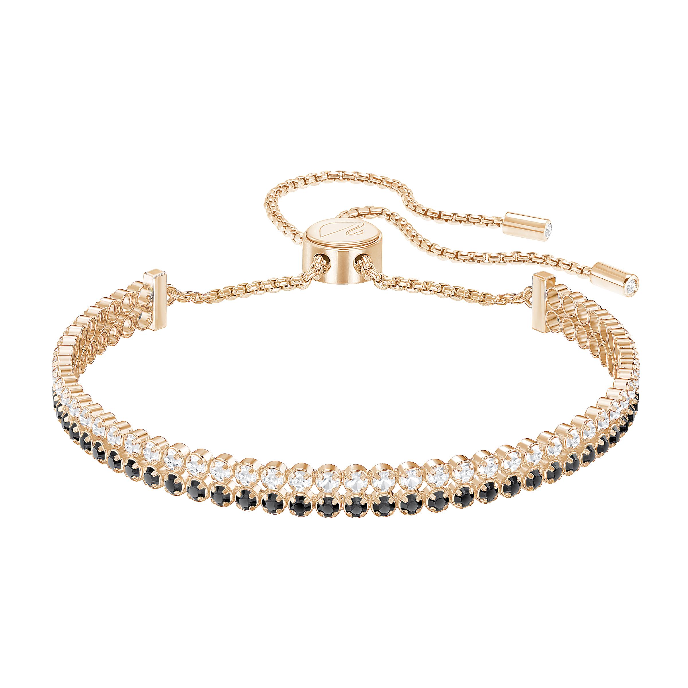 Subtle Double Bracelet, Black, Rose Gold Plated
